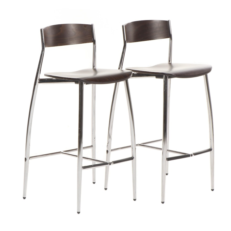 Cool Pair Of Altek Italy Baba Modern Style Walnut And Steel Stools Theyellowbook Wood Chair Design Ideas Theyellowbookinfo