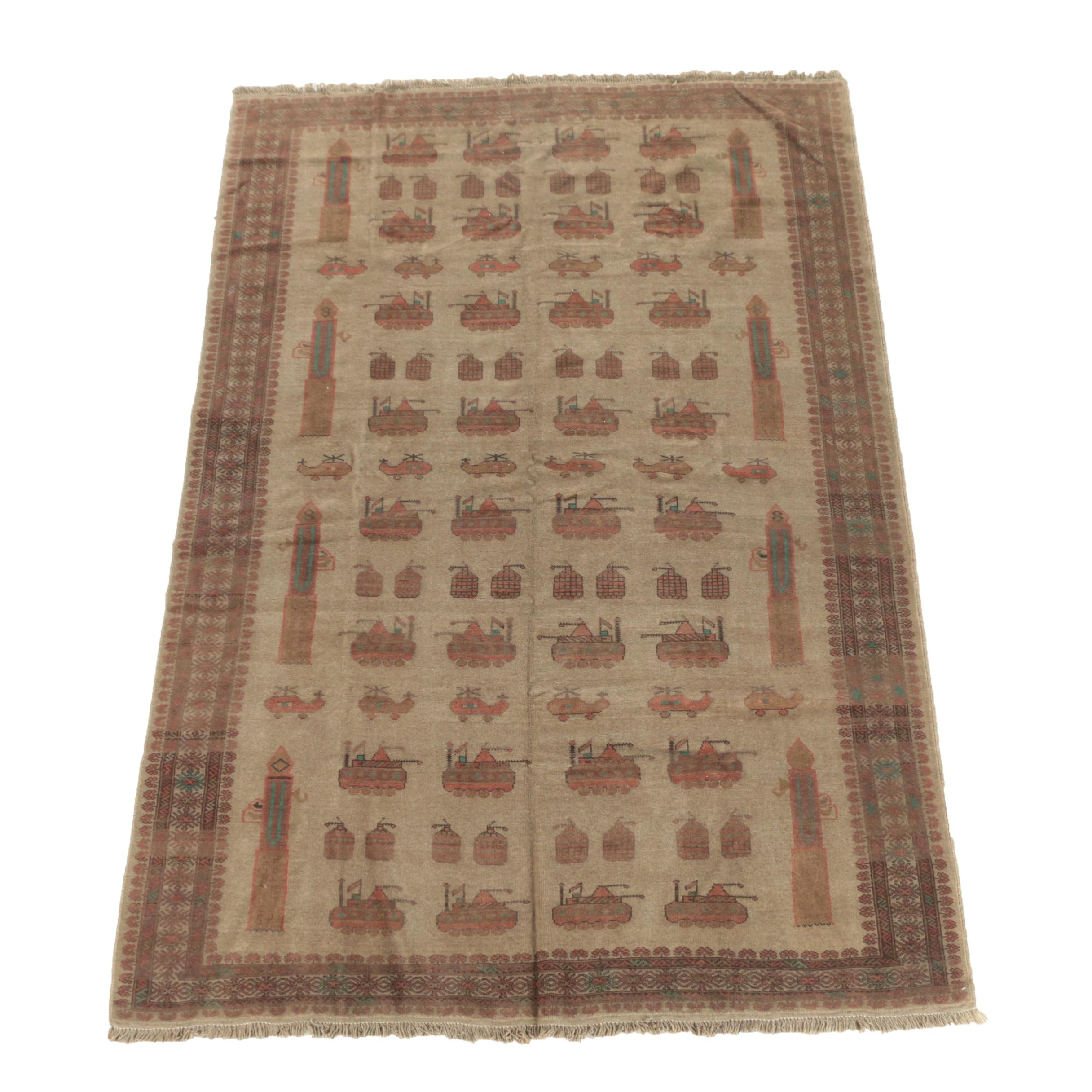 """Hand-Knotted Afghan Pictorial """"War"""" Wool Area Rug"""