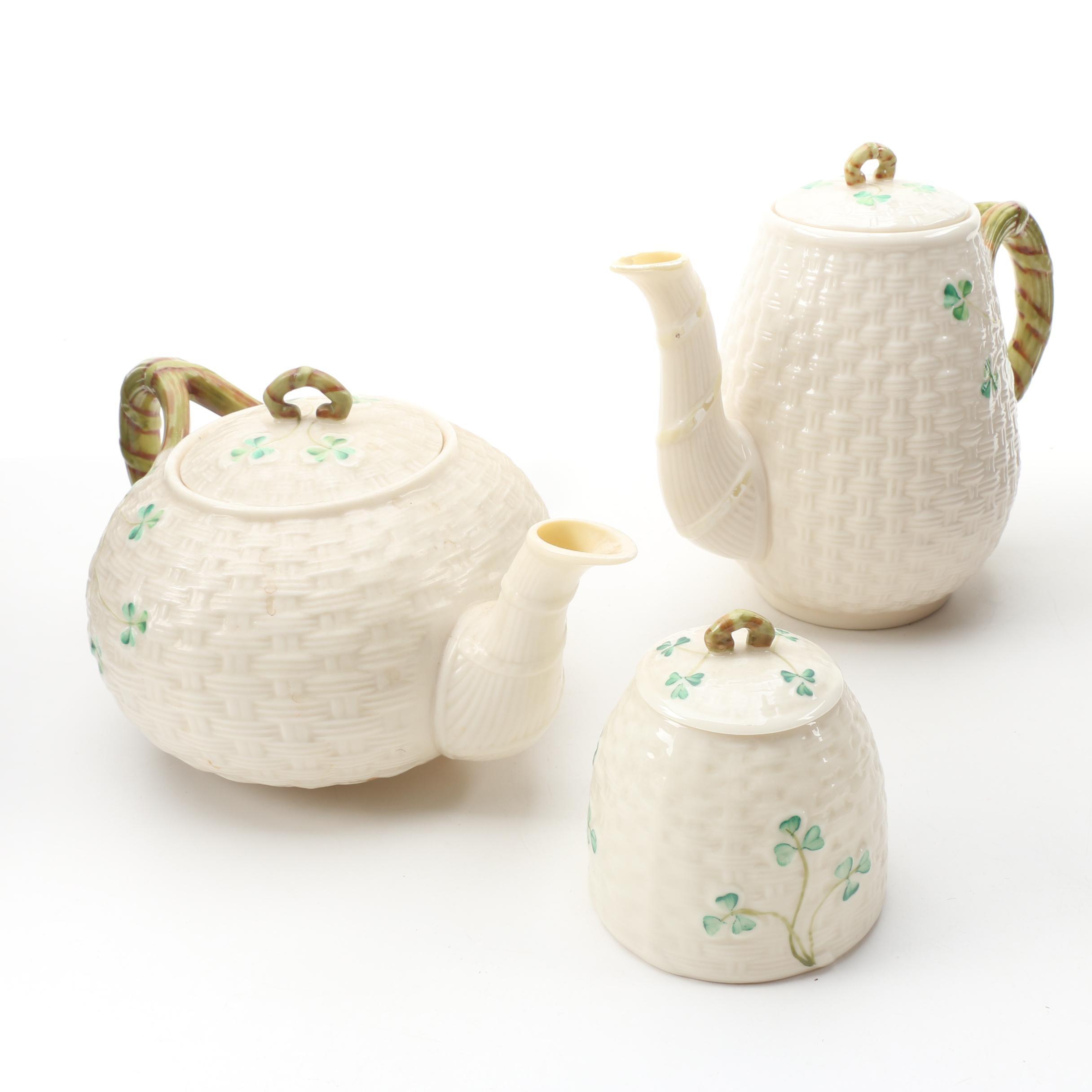"""Belleek """"Shamrock"""" Porcelain Teapot, Coffeepot and Marmalade Jar, 1955–1980"""
