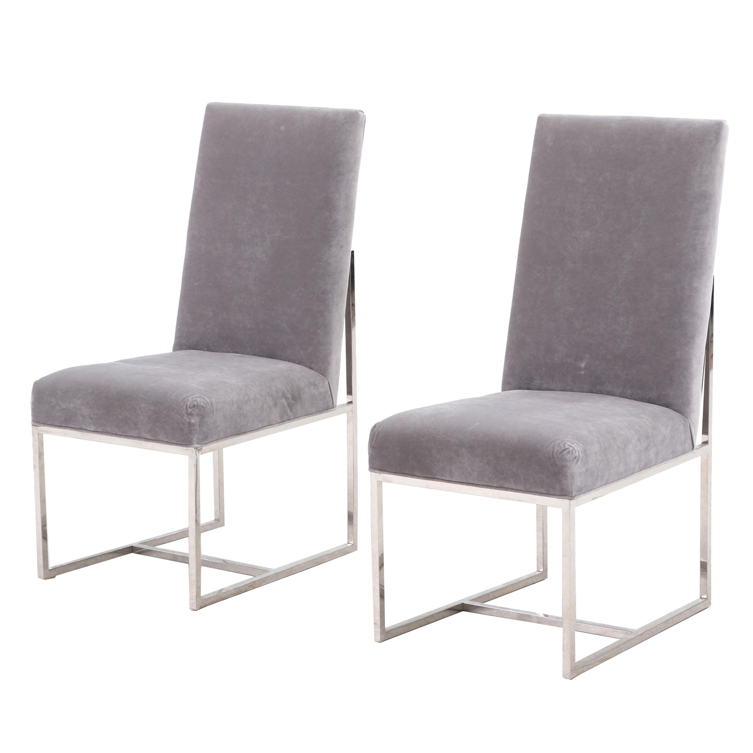 Contemporary Upholstered Chrome Finish Frame Side Chairs