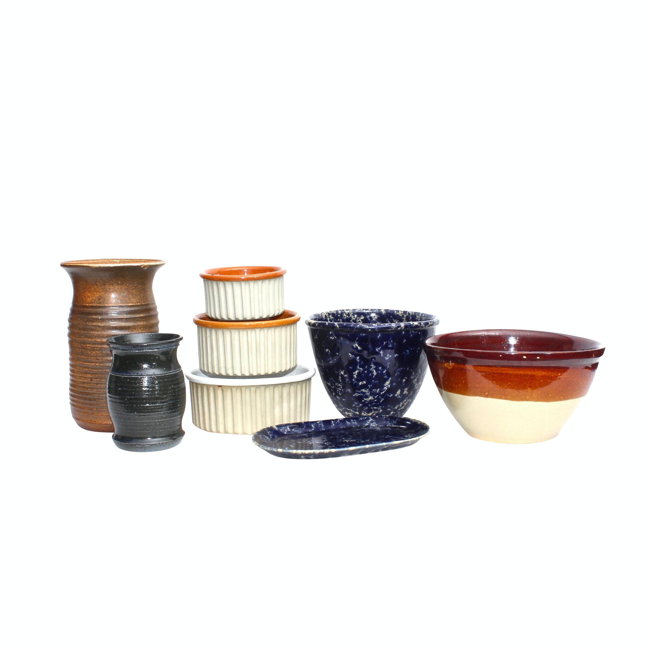 Bennington Pottery Serveware with Thrown Stoneware Vases
