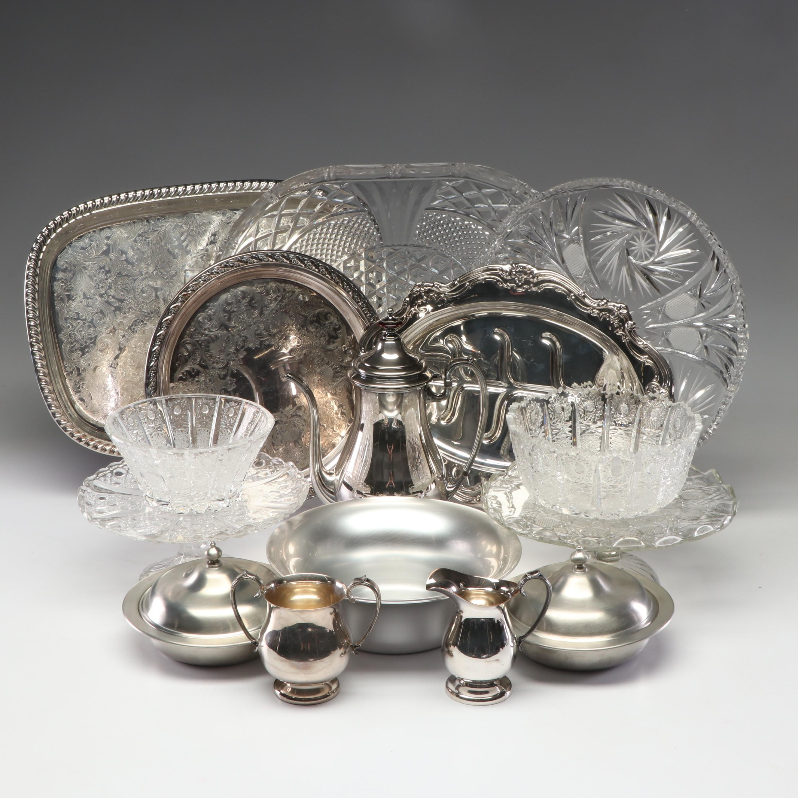 Collection of Pressed Glass Silver Plate and Pewter Serveware