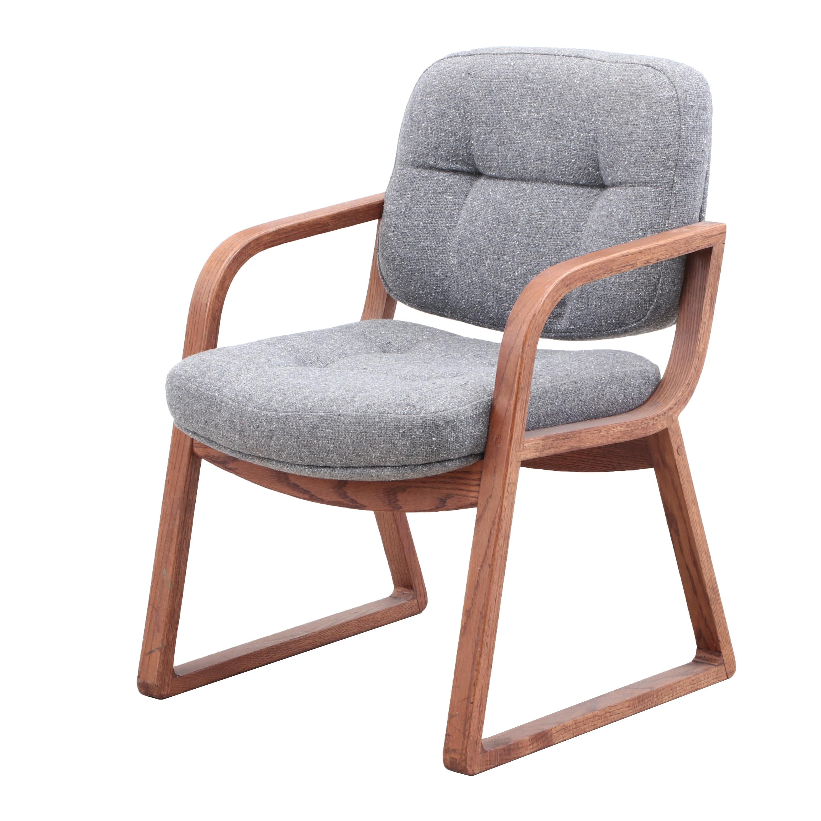 Mid Century Modern Hon Company Upholstered Walnut Arm Chair, Mid 20th Century