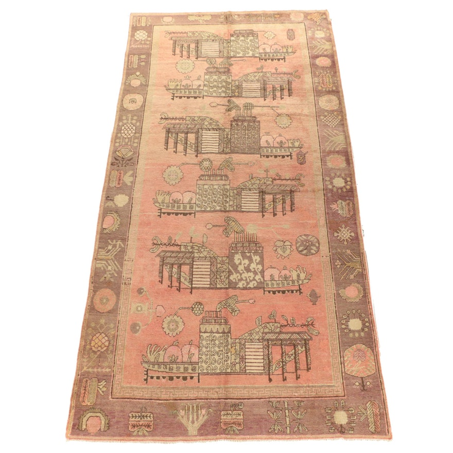 Hand-Knotted Khotan Pictorial Vase Wool Area Rug, 1920s