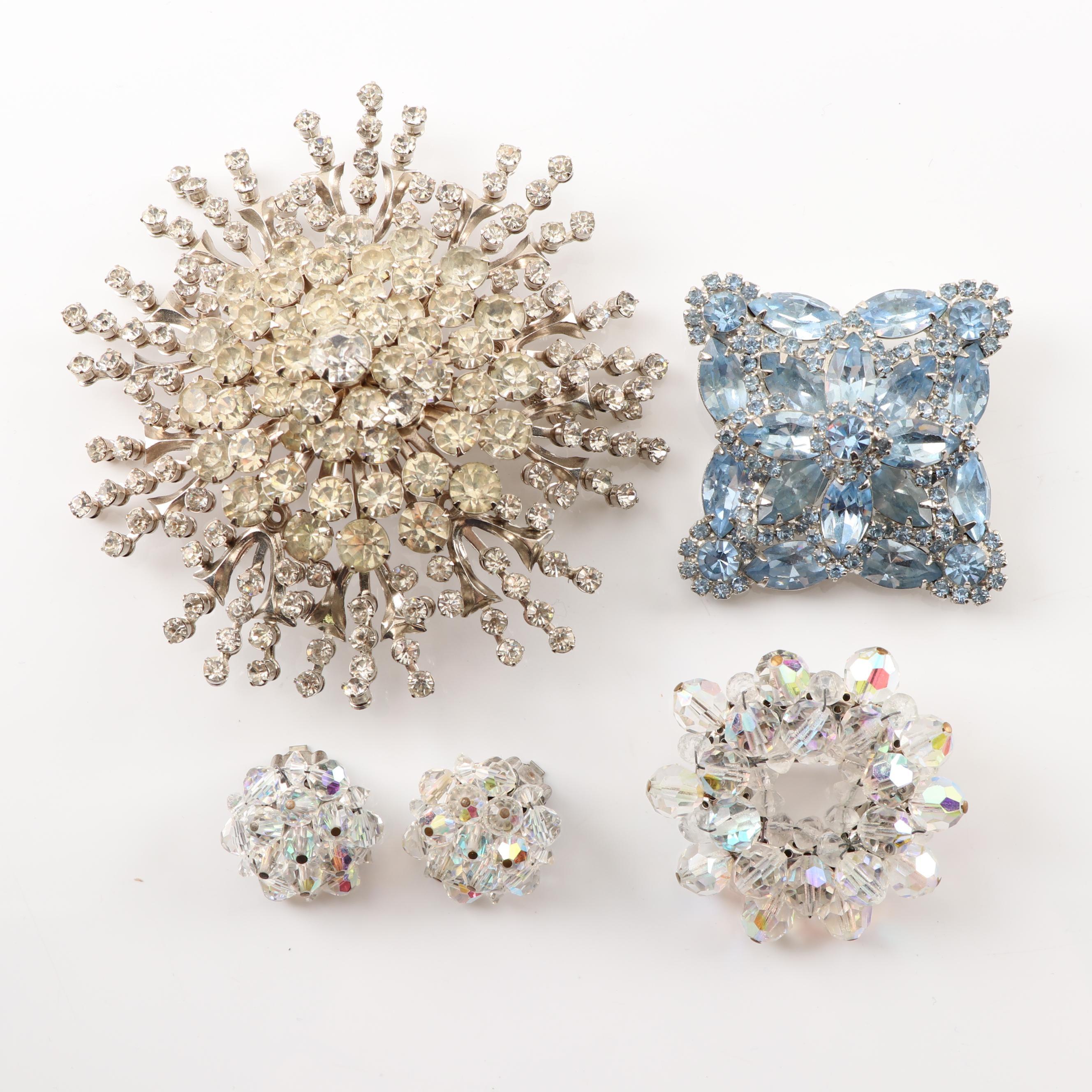 Rhinestone Brooches and Crystal Bead Demi - Parure