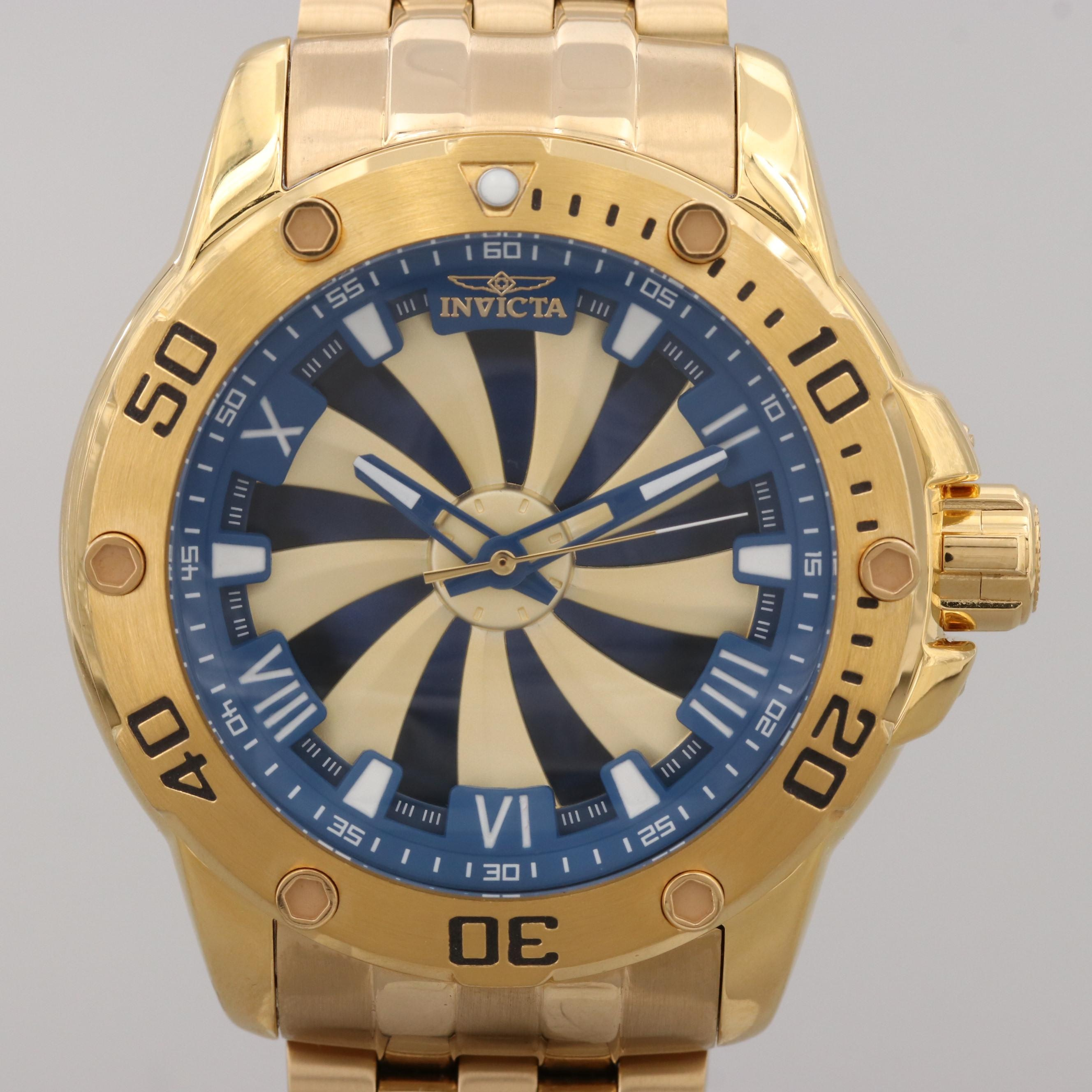 Invicta Speedway Gold Tone Automatic Wristwatch With Watch Case