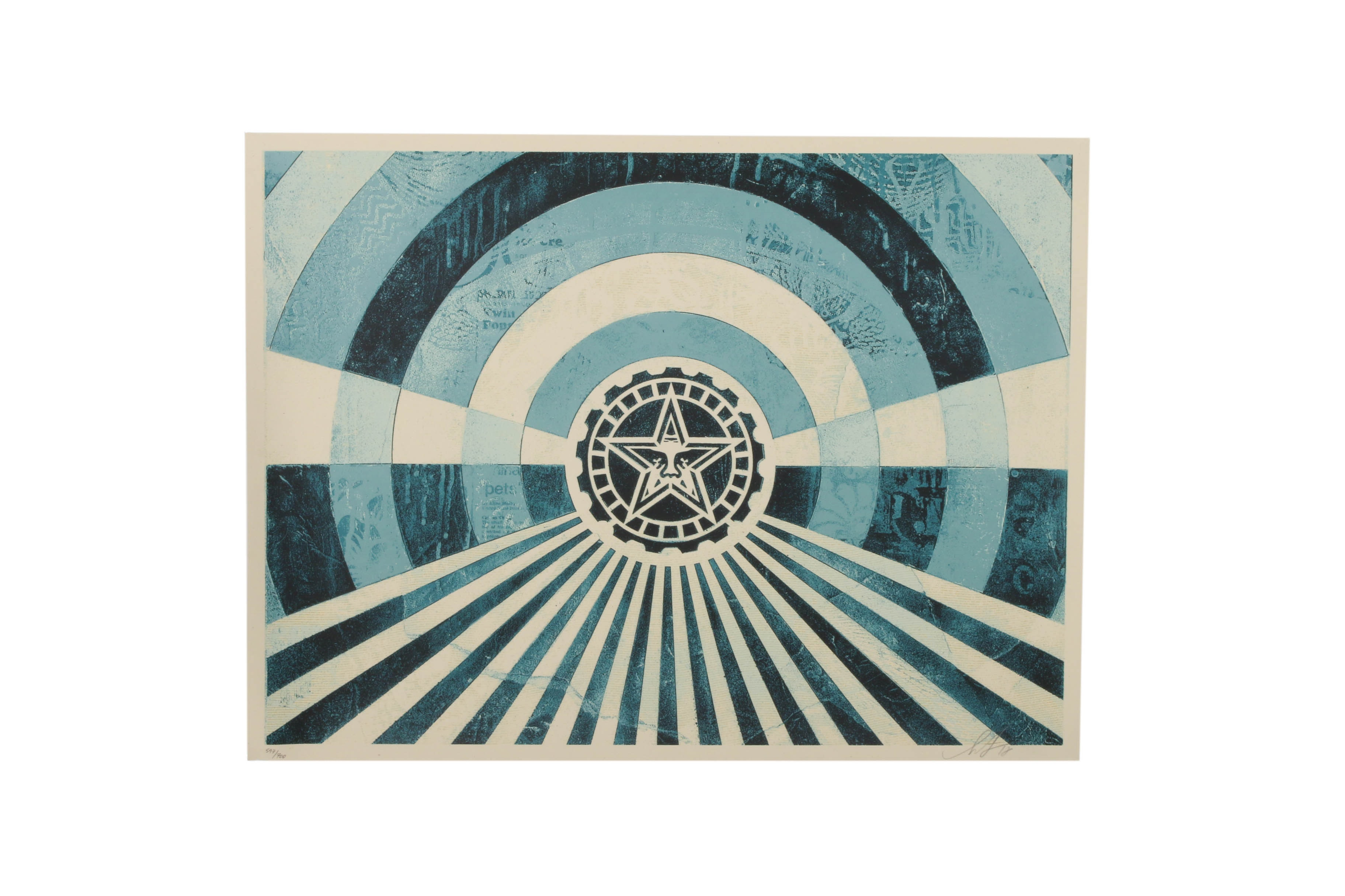 "Shepard Fairey Serigraph ""Tunnel Vision Version 2 (Blue)"""