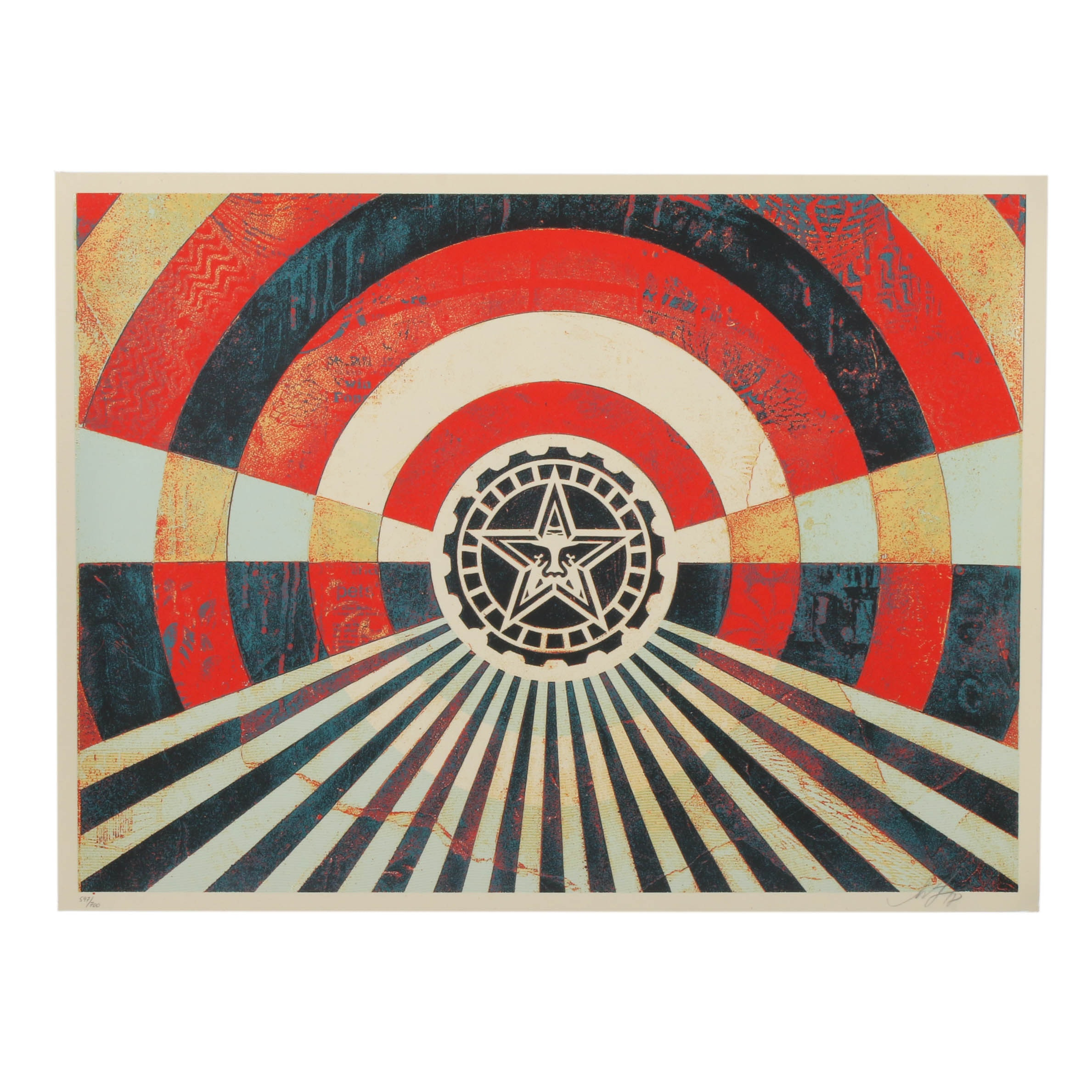 "Shepard Fairey Serigraph ""Tunnel Vision Version 2 (Gold)"""