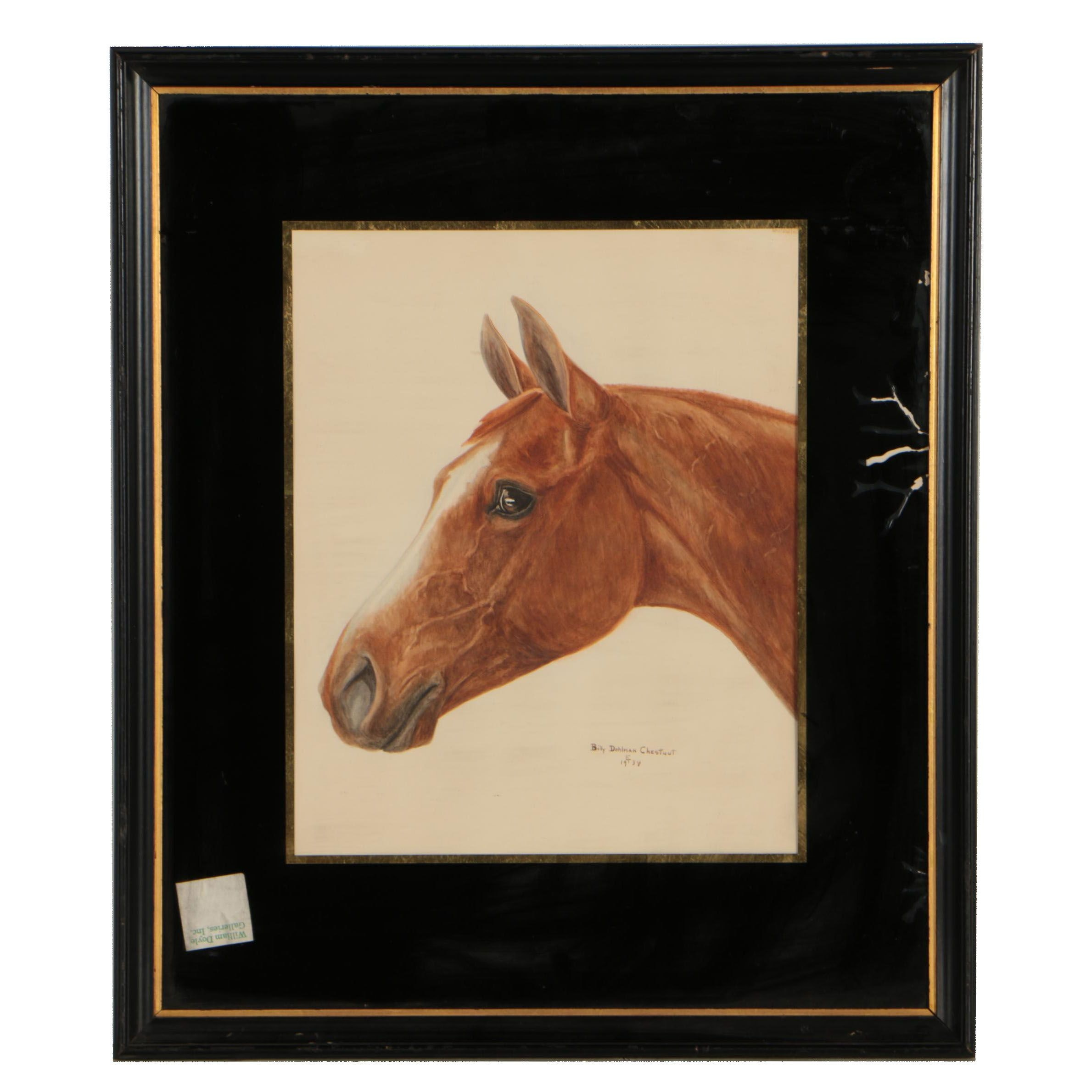 Billy Dohlman Chestnut 1934 Watercolor Painting of Horse