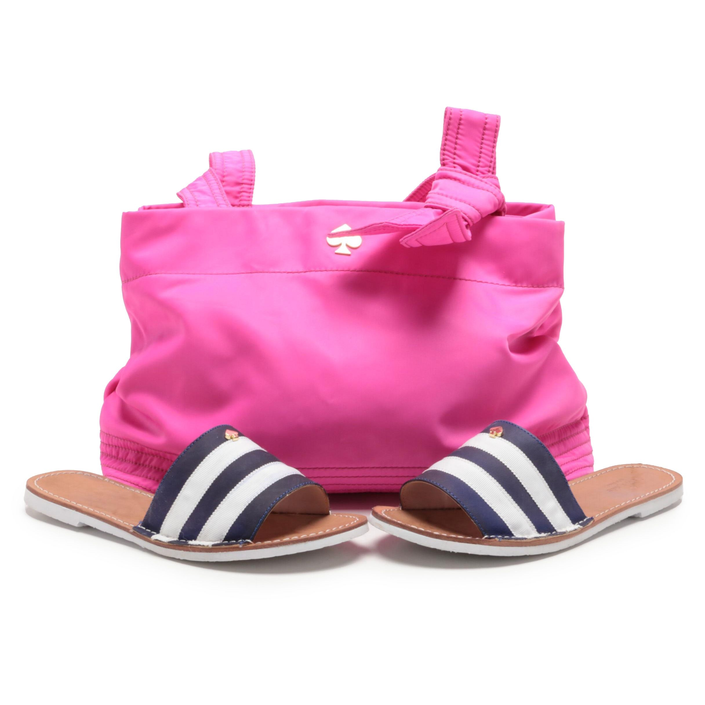 Kate Spade New York Hot Pink Vinyl Tote Bag and Navy and White Stripe Slides
