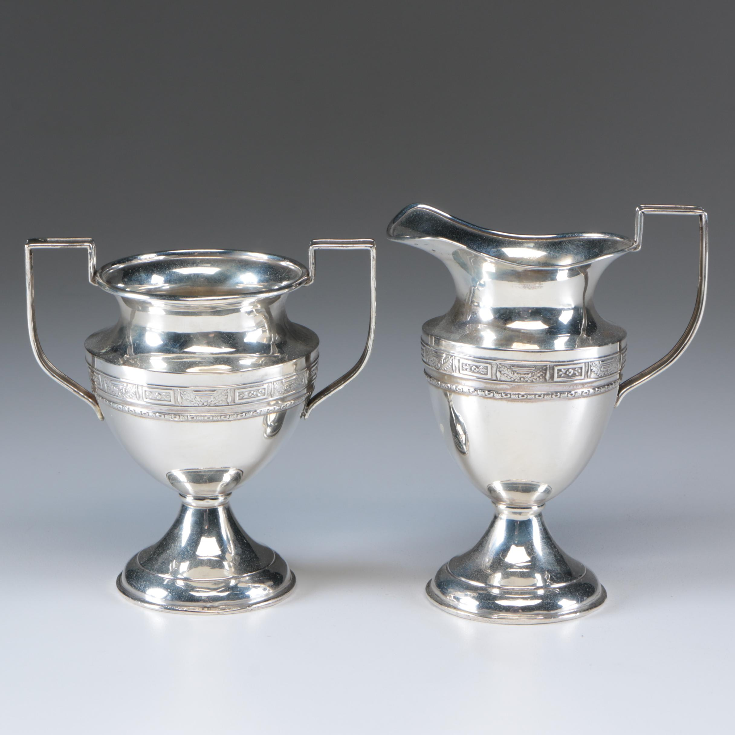 American Neoclassical Style Sterling Silver Creamer and Sugar Bowl, Mid-Century