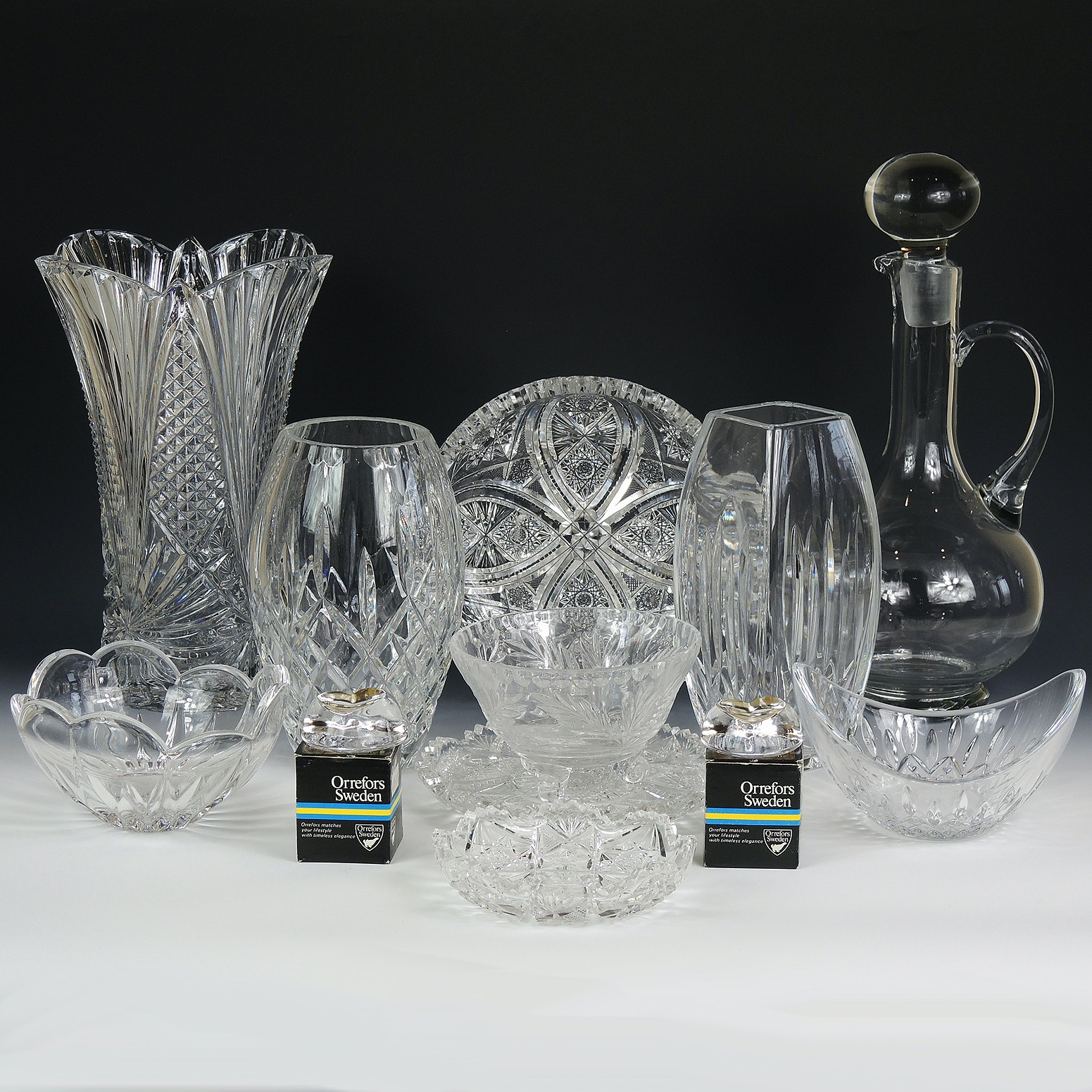 American Brilliant Style Cut Glass and Crystal Tableware Including Waterford
