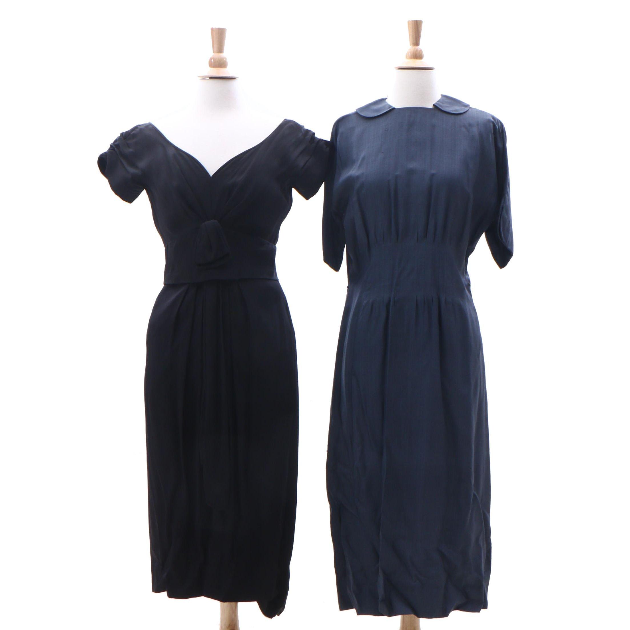 Bergdorf Goodman Black Silk Dress and Blue Uniform Style Dress, 1950s Vintage