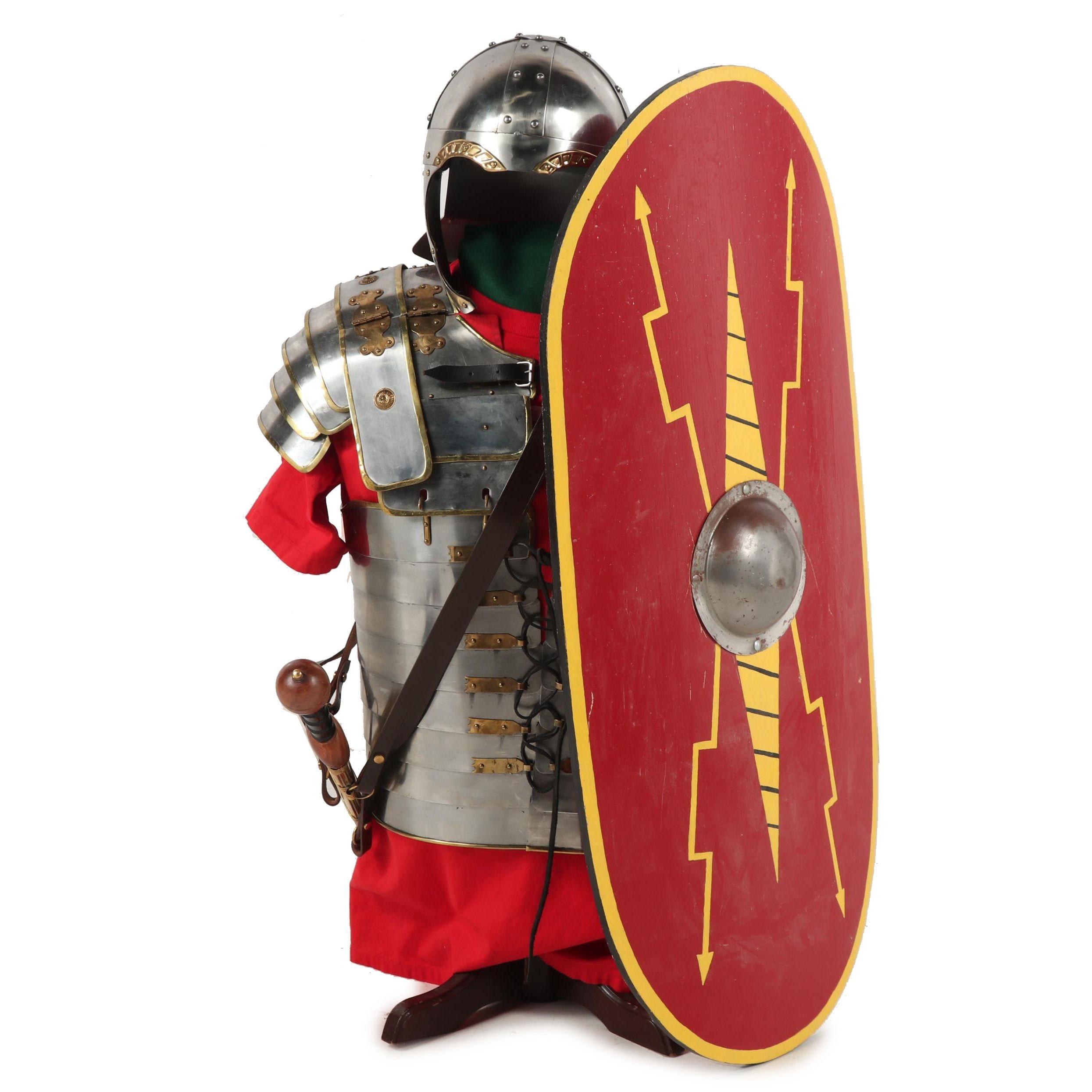 Replica Imperial Roman Army Legionary Costume Armor, Gladius and Shield