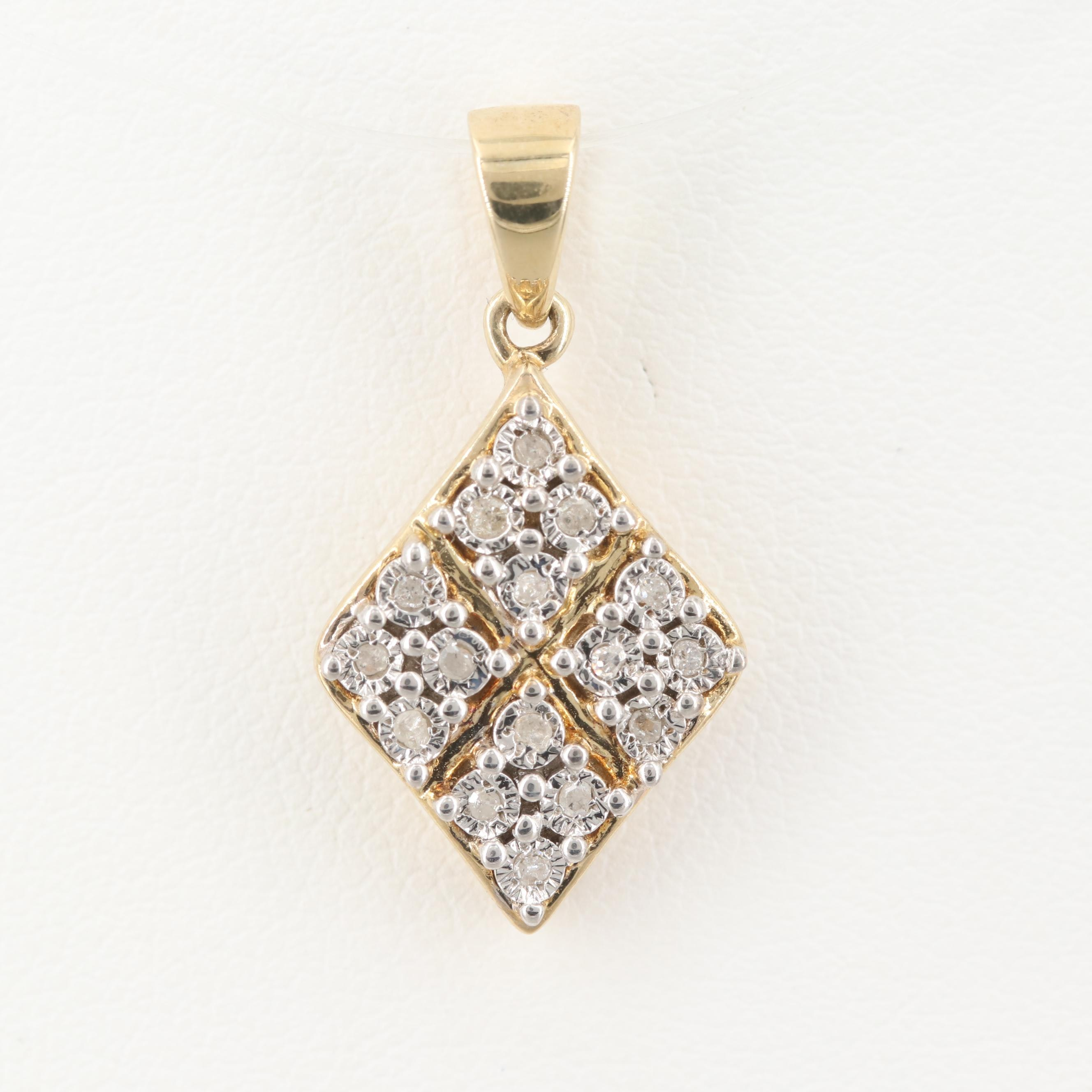Gold Wash on Sterling Silver Diamond Pendant