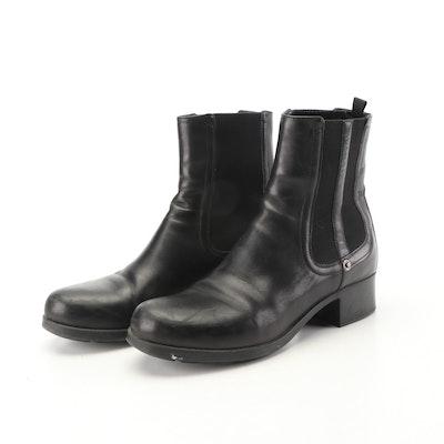 Prada Calzature Donna Black Calfskin Leather Booties