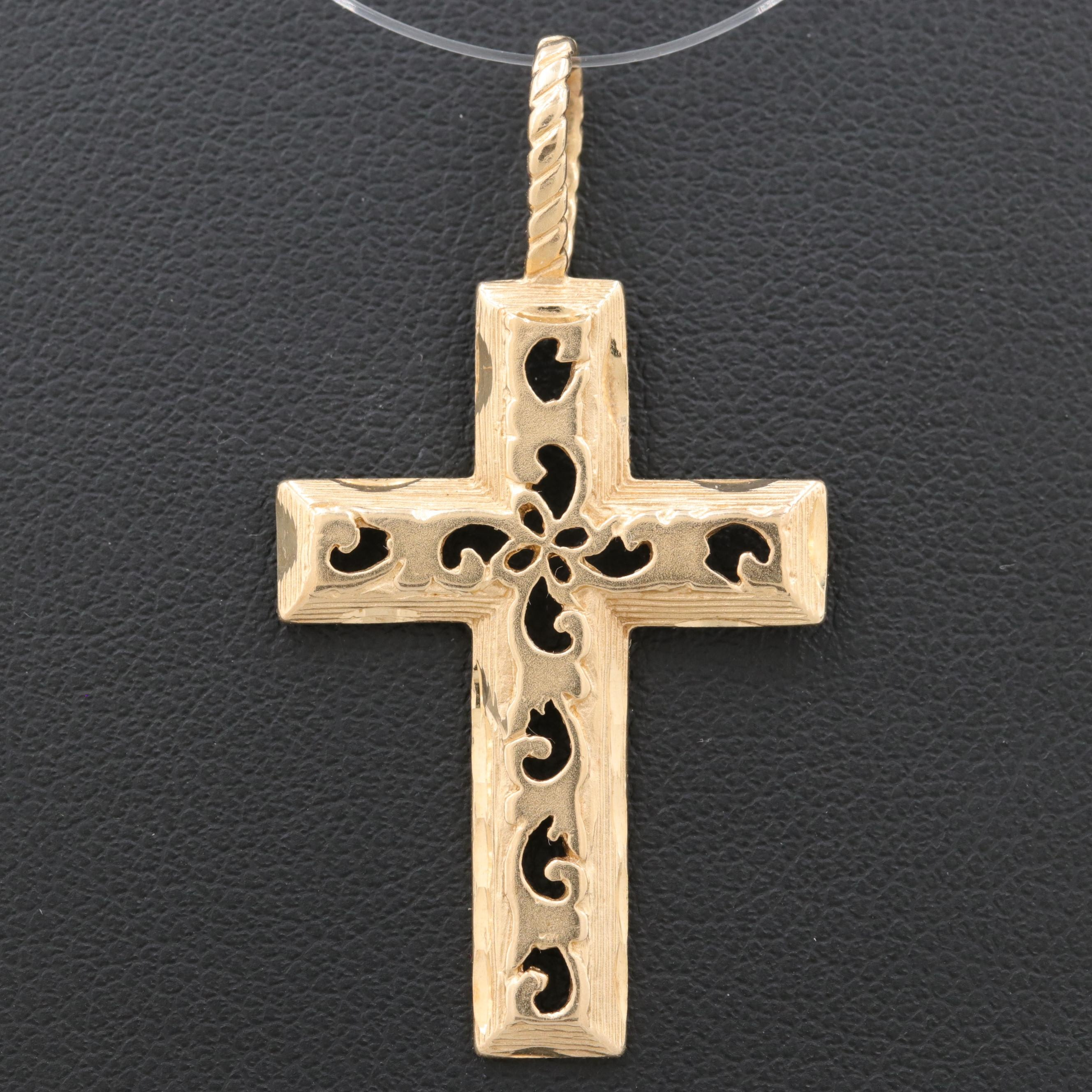 Michael Anthony 14K Yellow Gold Pierced Openwork Cross Pendant