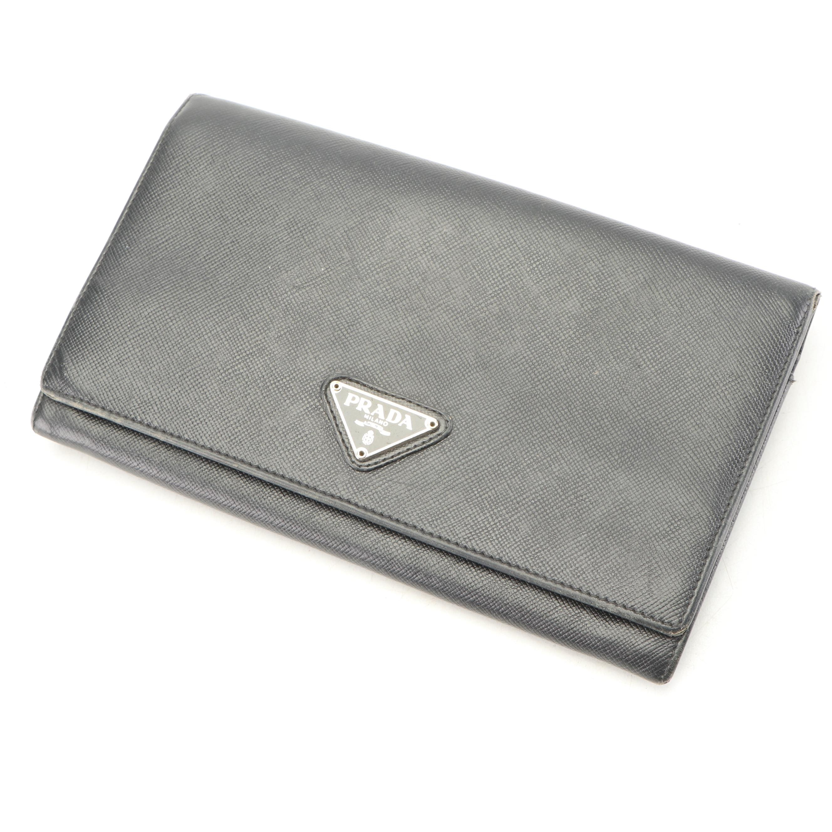 Prada Black Saffiano Leather Wallet, Made in Italy