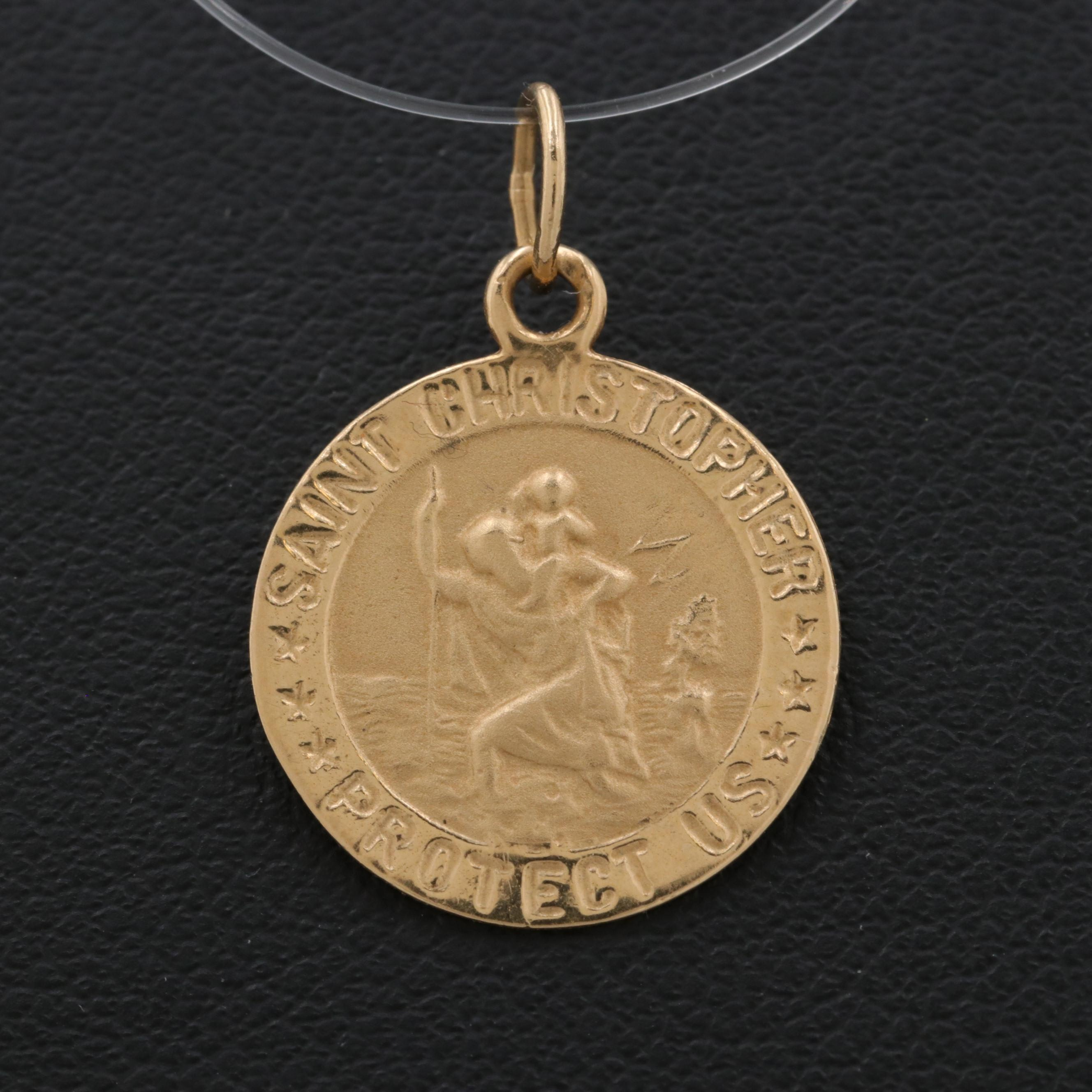 Michael Anthony 14K Yellow Gold Saint Christopher Medallion Pendant
