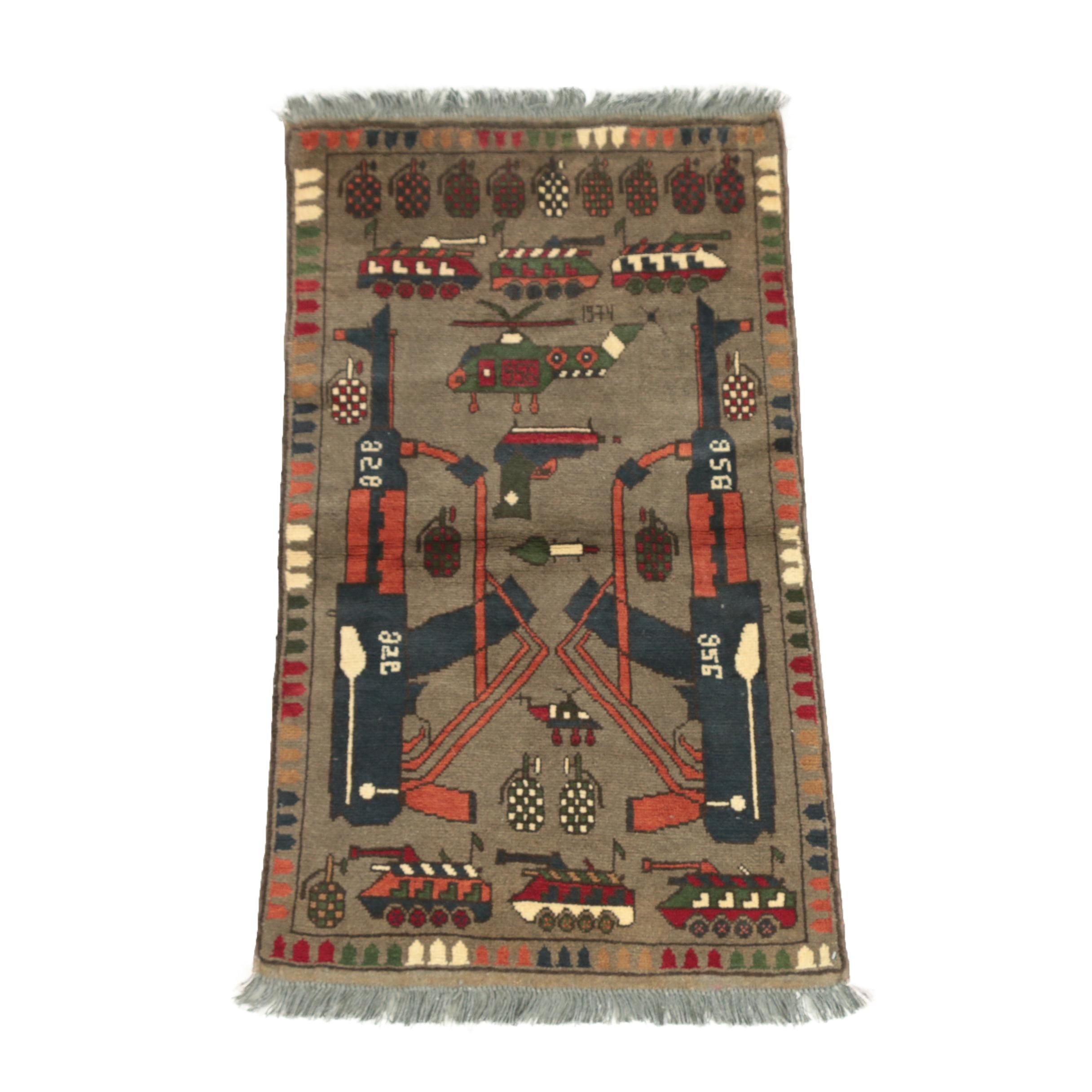 "Hand-Knotted Afghan Pictorial ""War"" Wool Area Rug"