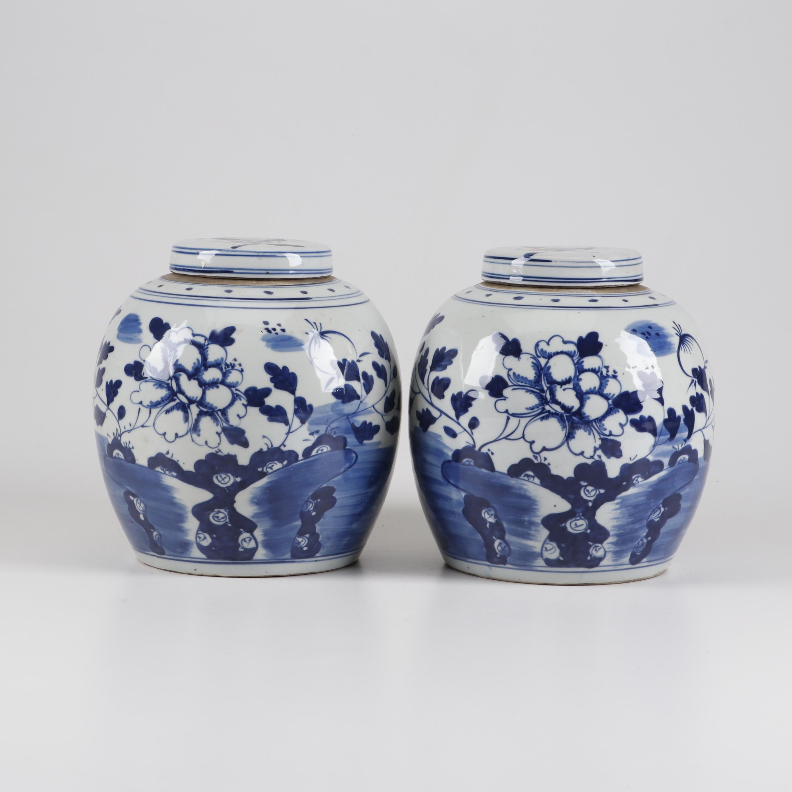 Chinese Blue and White Ceramic Ginger Jars