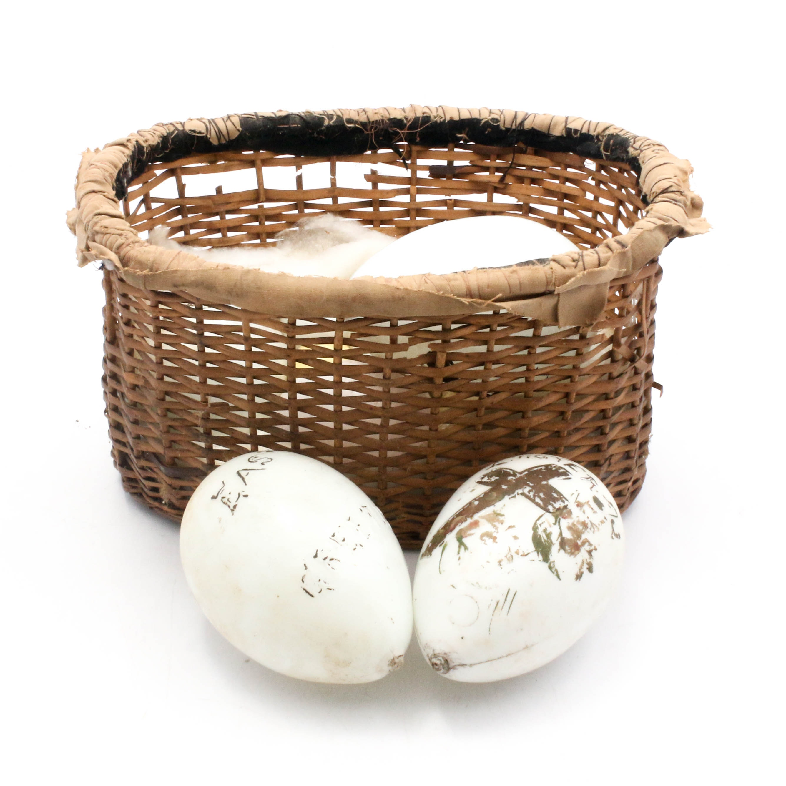 Antique Blown Milk Glass Easter Eggs in Handmade Basket, Early 20th Century