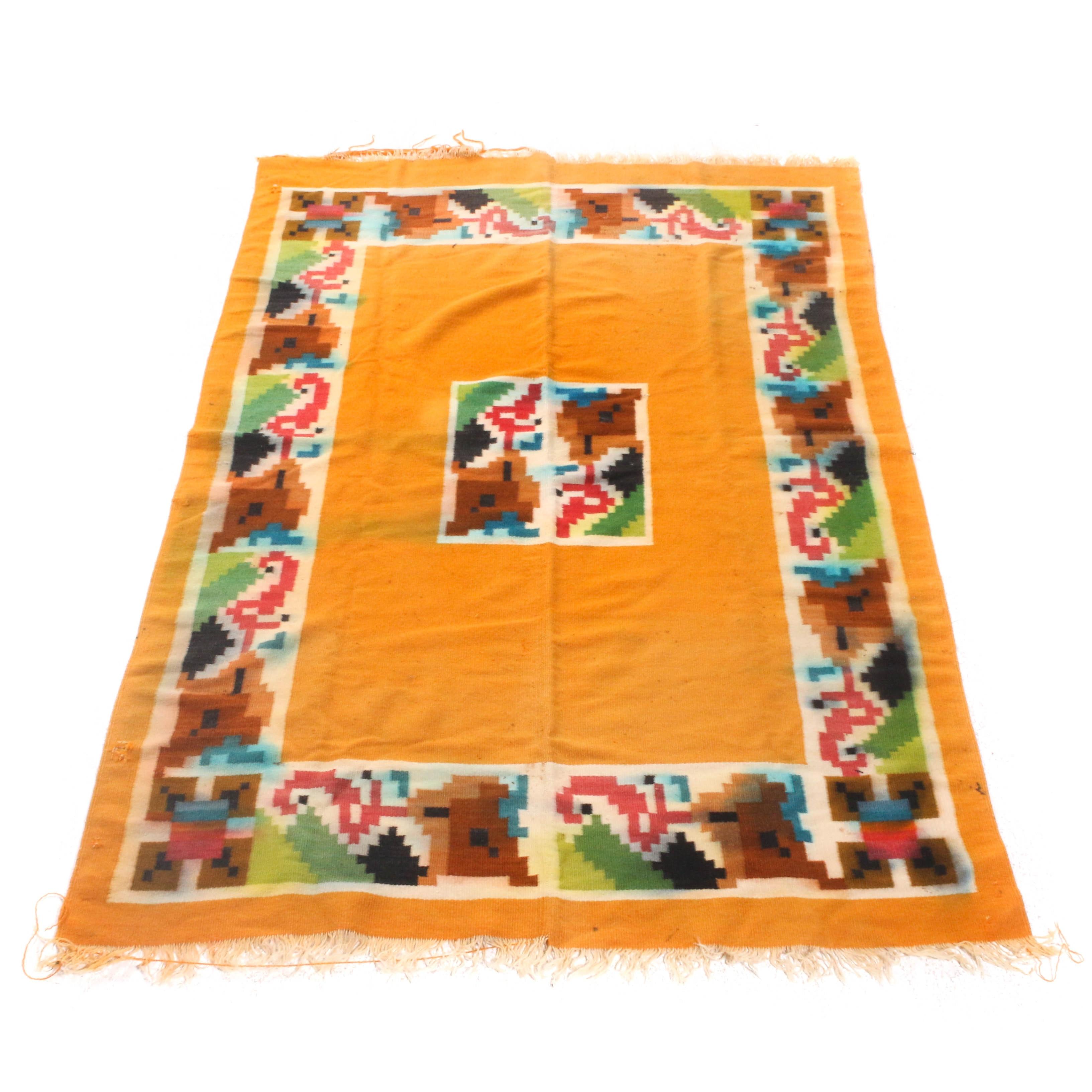 Native American Style Handwoven Wool Blanket, Vintage