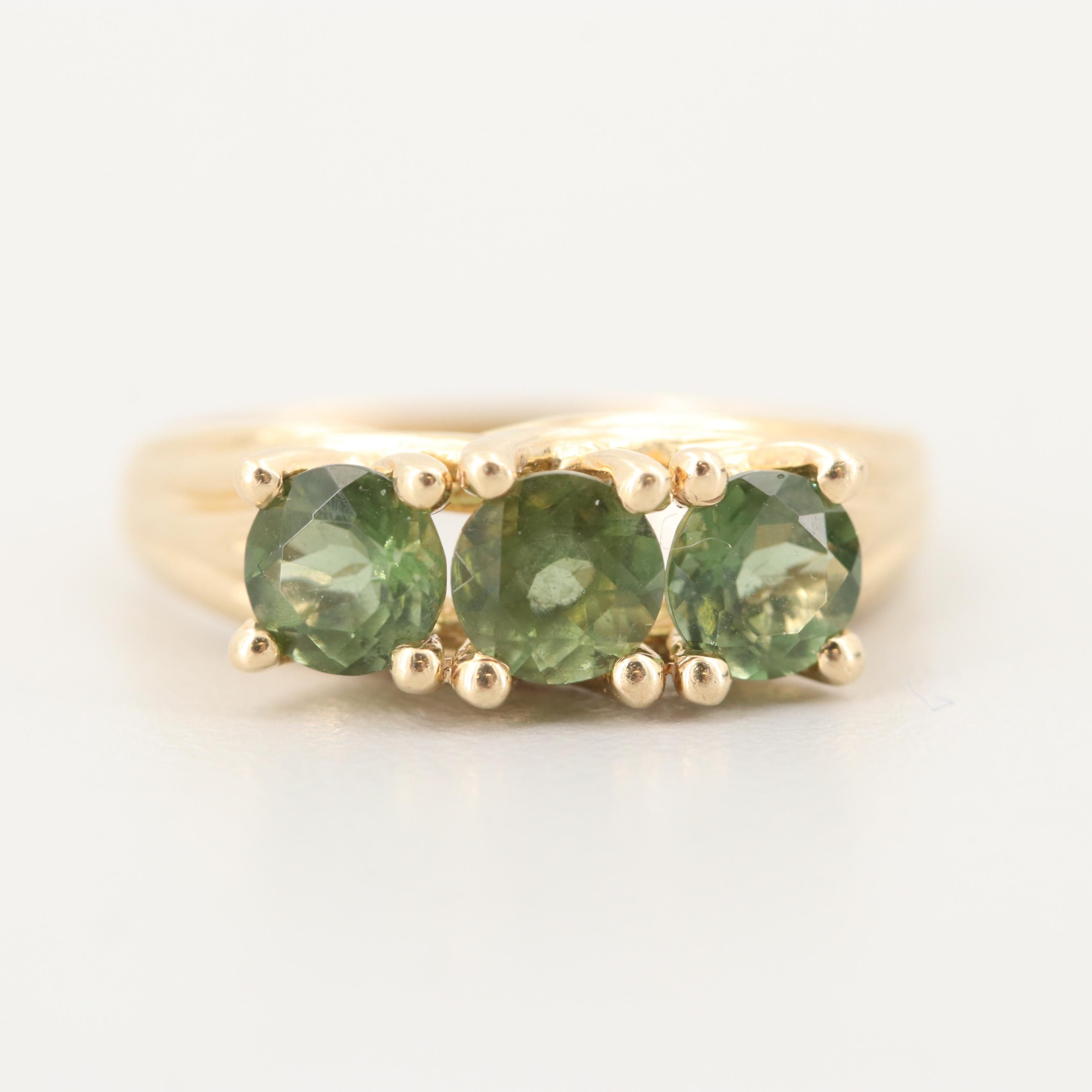 10K Yellow Gold Ring with Green Faceted Glass Stones