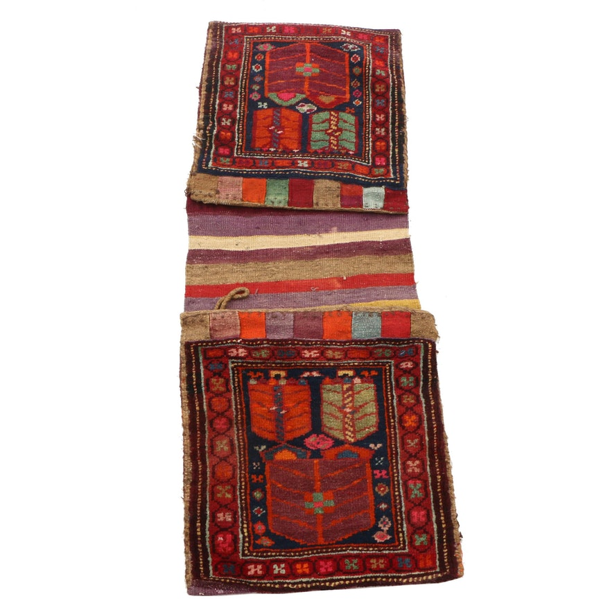 Hand-Knotted and Woven Turkish Wool Saddle Bag