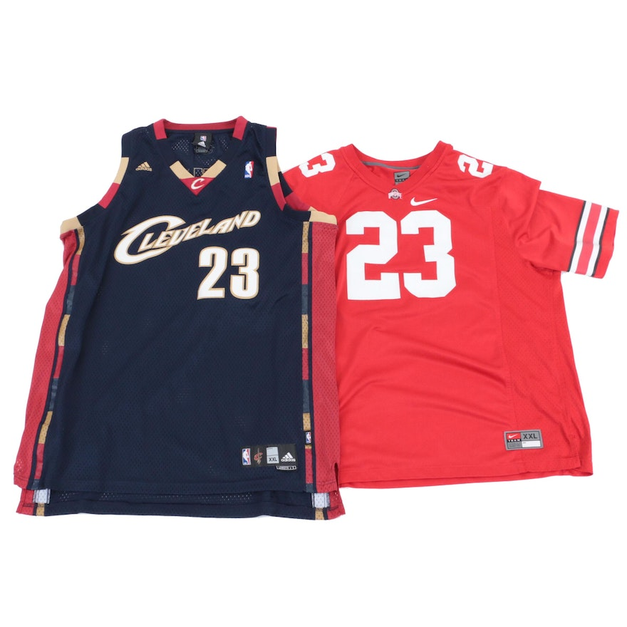 promo code 8ac87 0cc38 LeBron James Ohio State Football and Cleveland Cavaliers Replica Jerseys