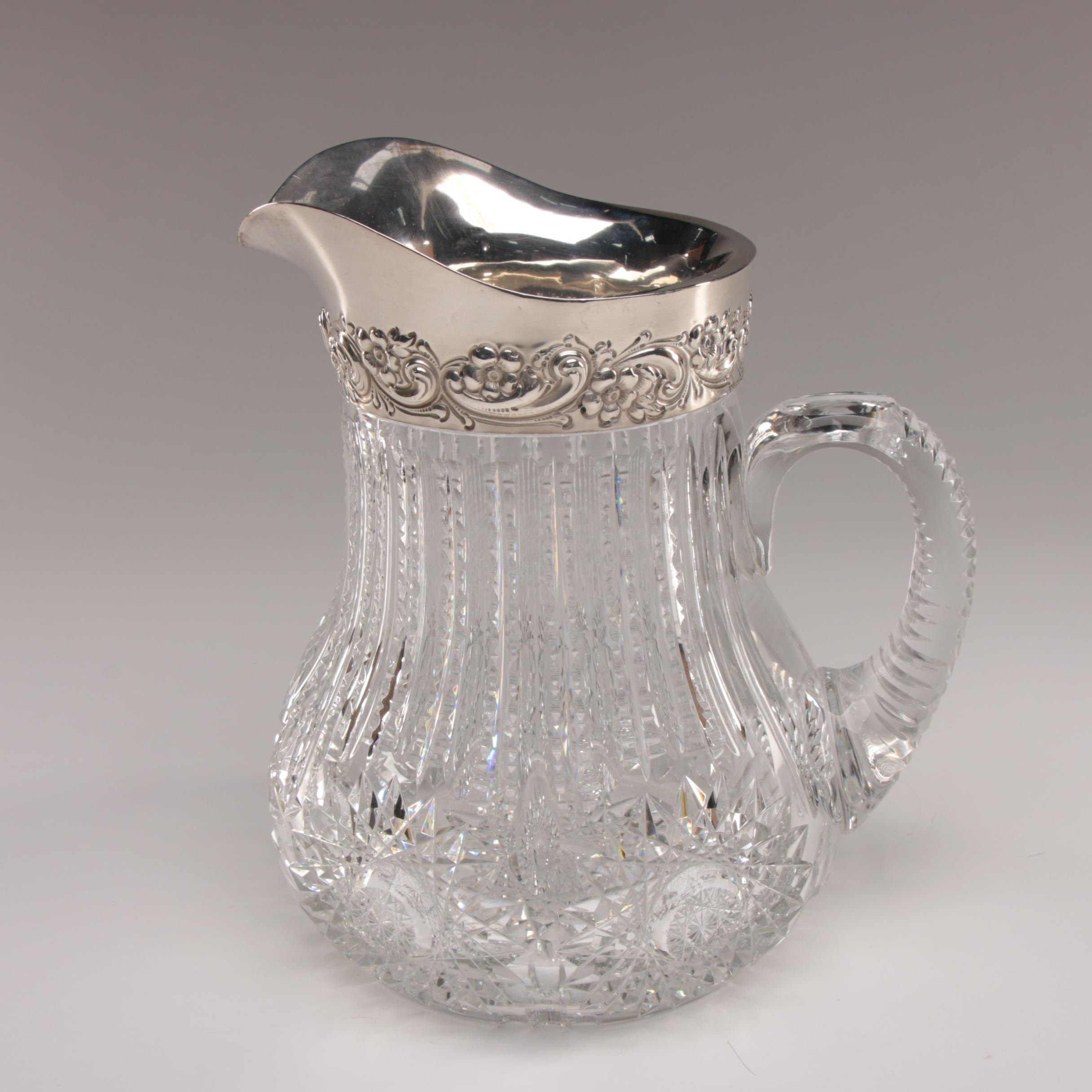 American Brilliant Cut Glass Pitcher with Dominick & Haff Sterling Lip