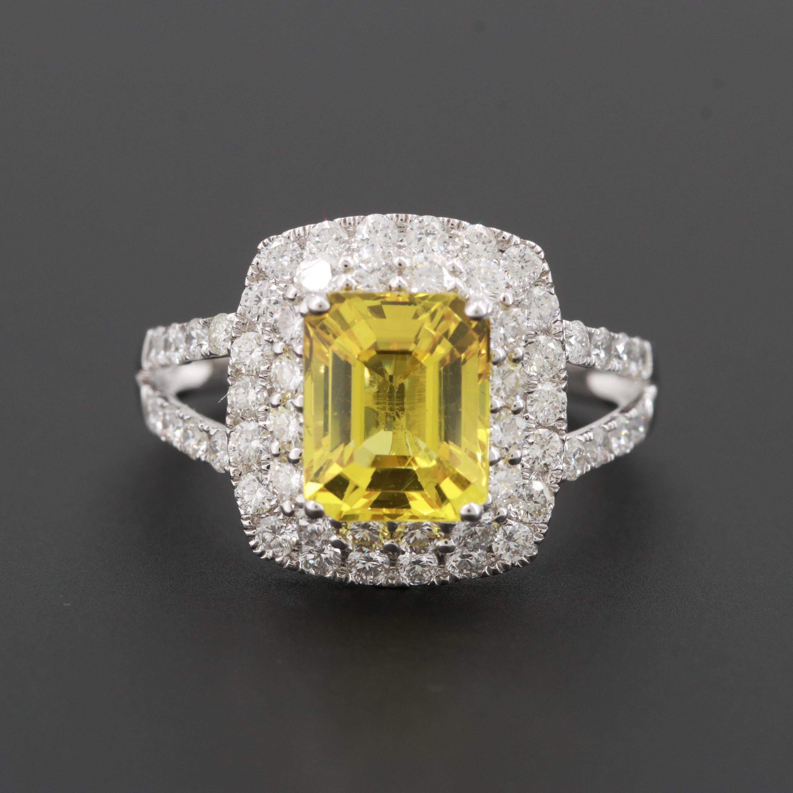 18K White Gold 2.72 CT Yellow Sapphire and 1.01 CTW Diamond Ring