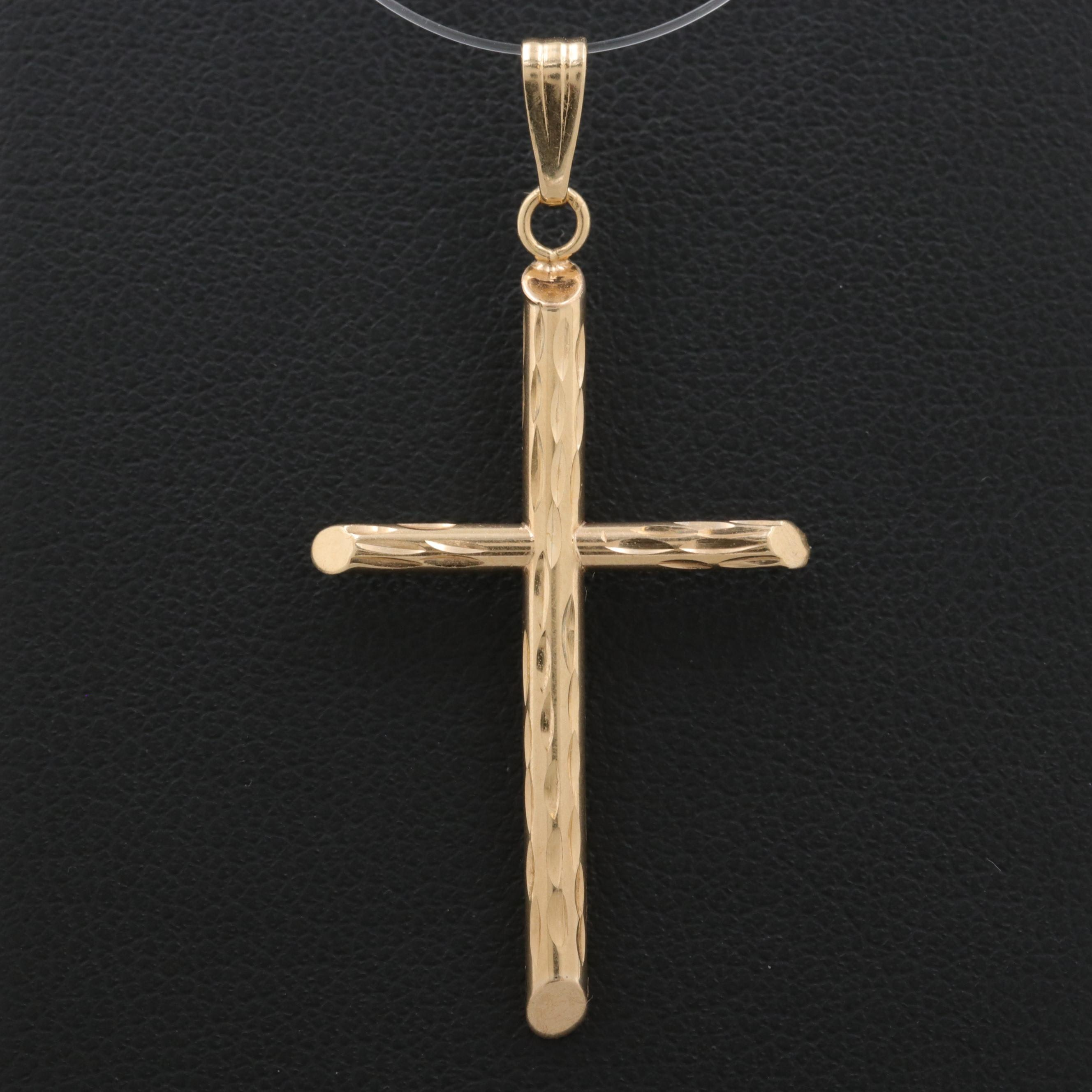 14K Yellow Gold Cross Pendant with Diamond Cut Finish