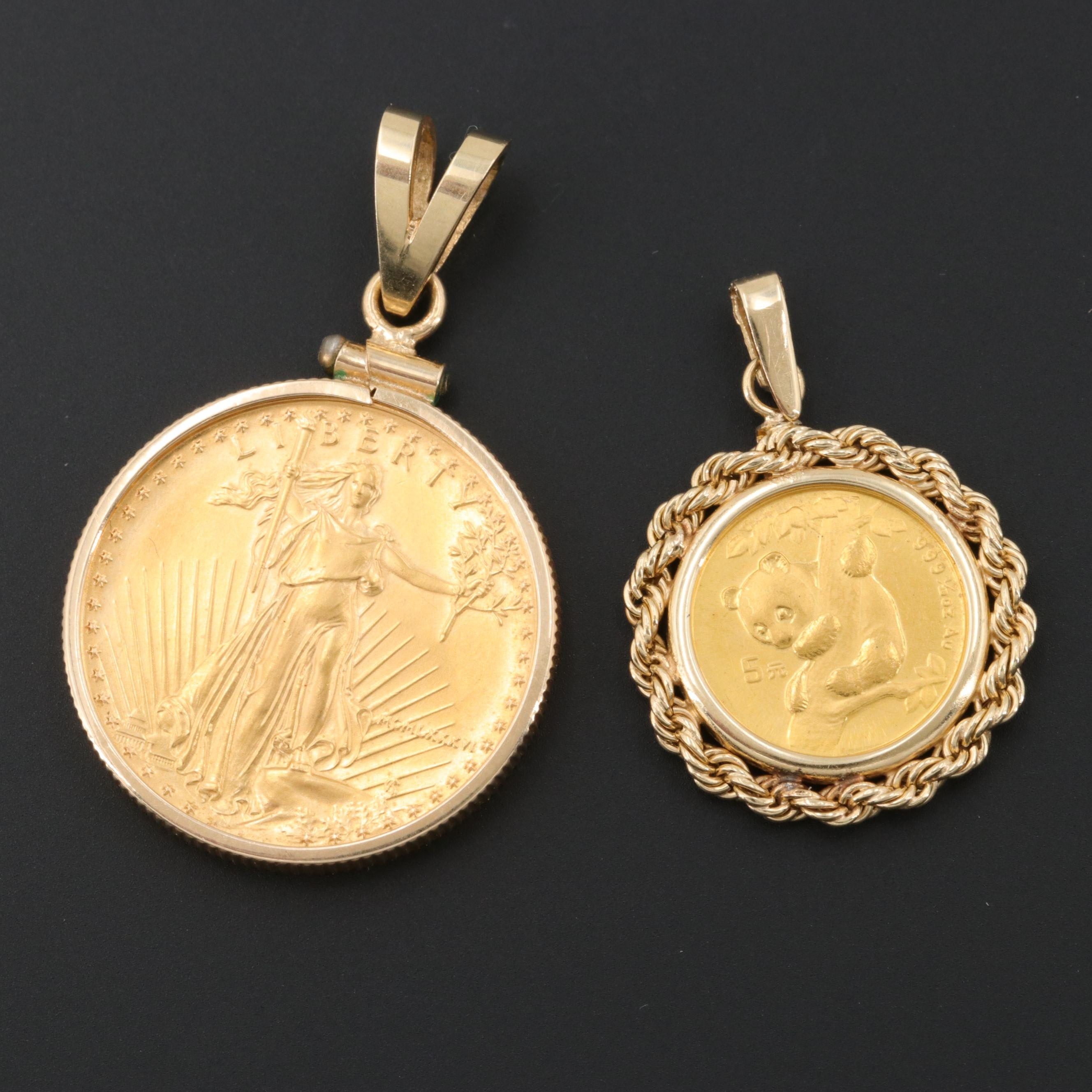 14K Pendants with 1986 $10 Gold Eagle and 1996 5-Yuan Chinese Gold Panda Coin