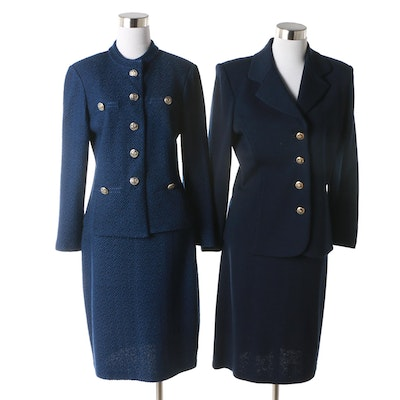 060497830014 St. John Brand Navy Blue Santana Knit and Micro Bouclé Knit Skirt Suits