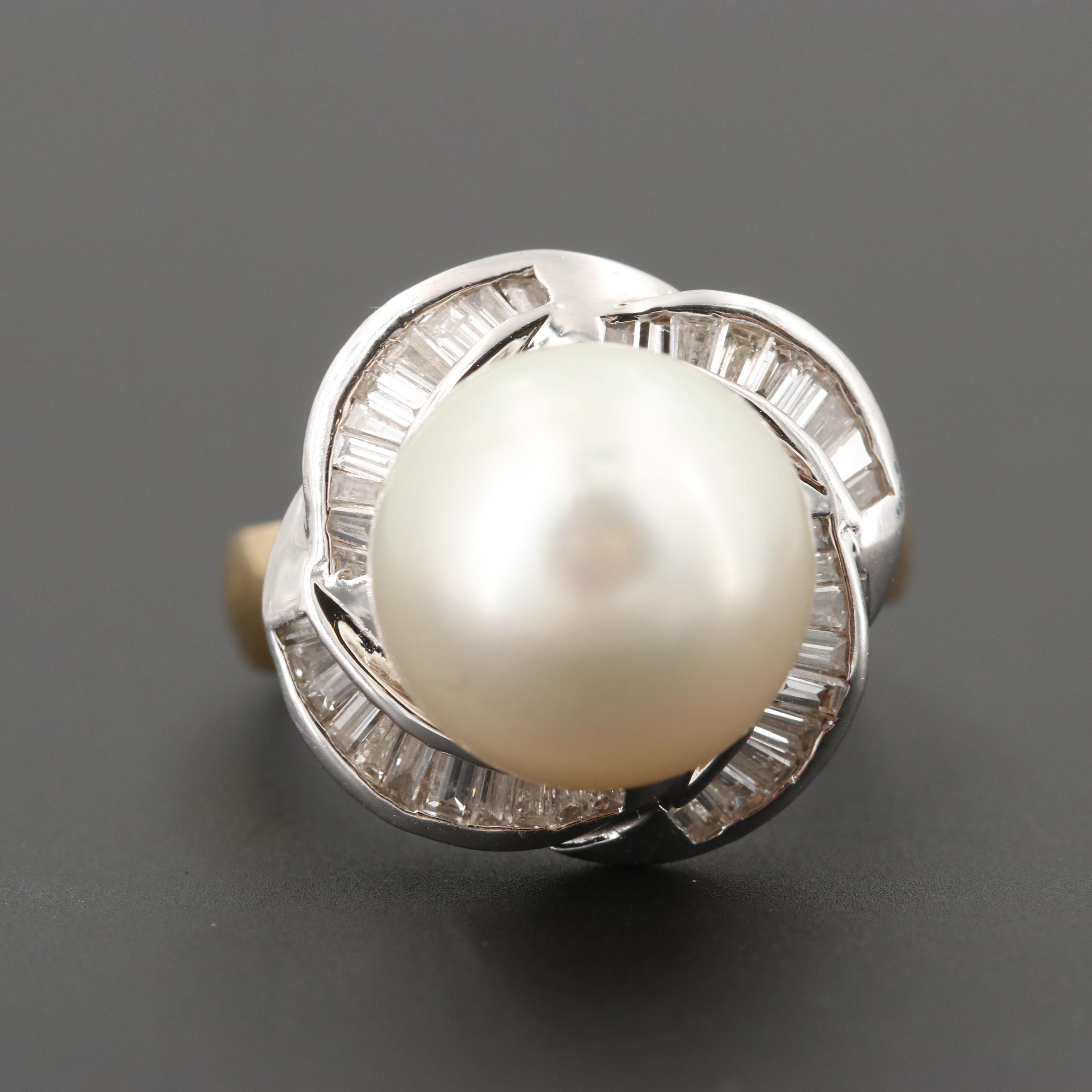 Vintage 18K Yellow Gold Cultured Pearl and Diamond Ring