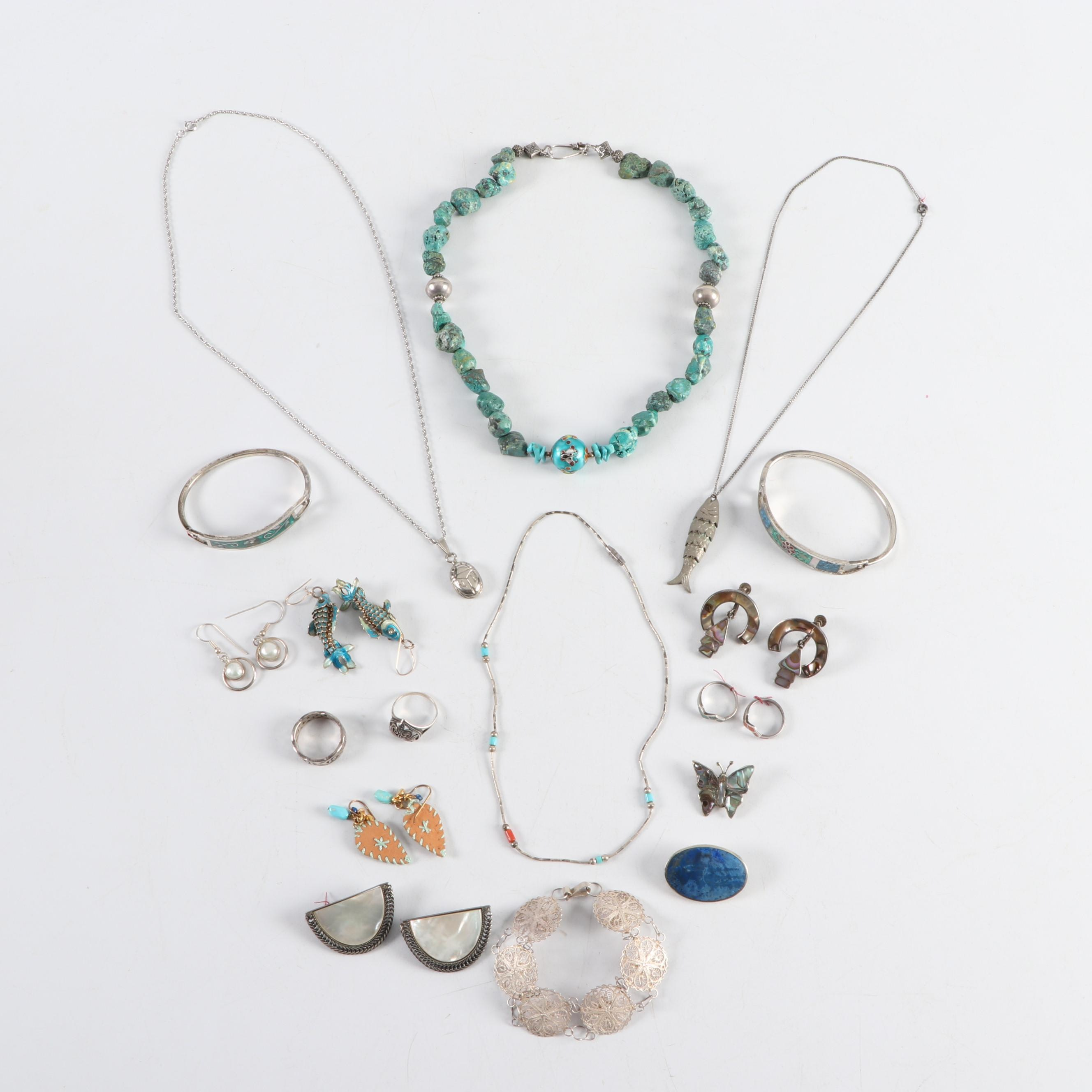 Jewelry with Mother of Pearl and Mexican Silver