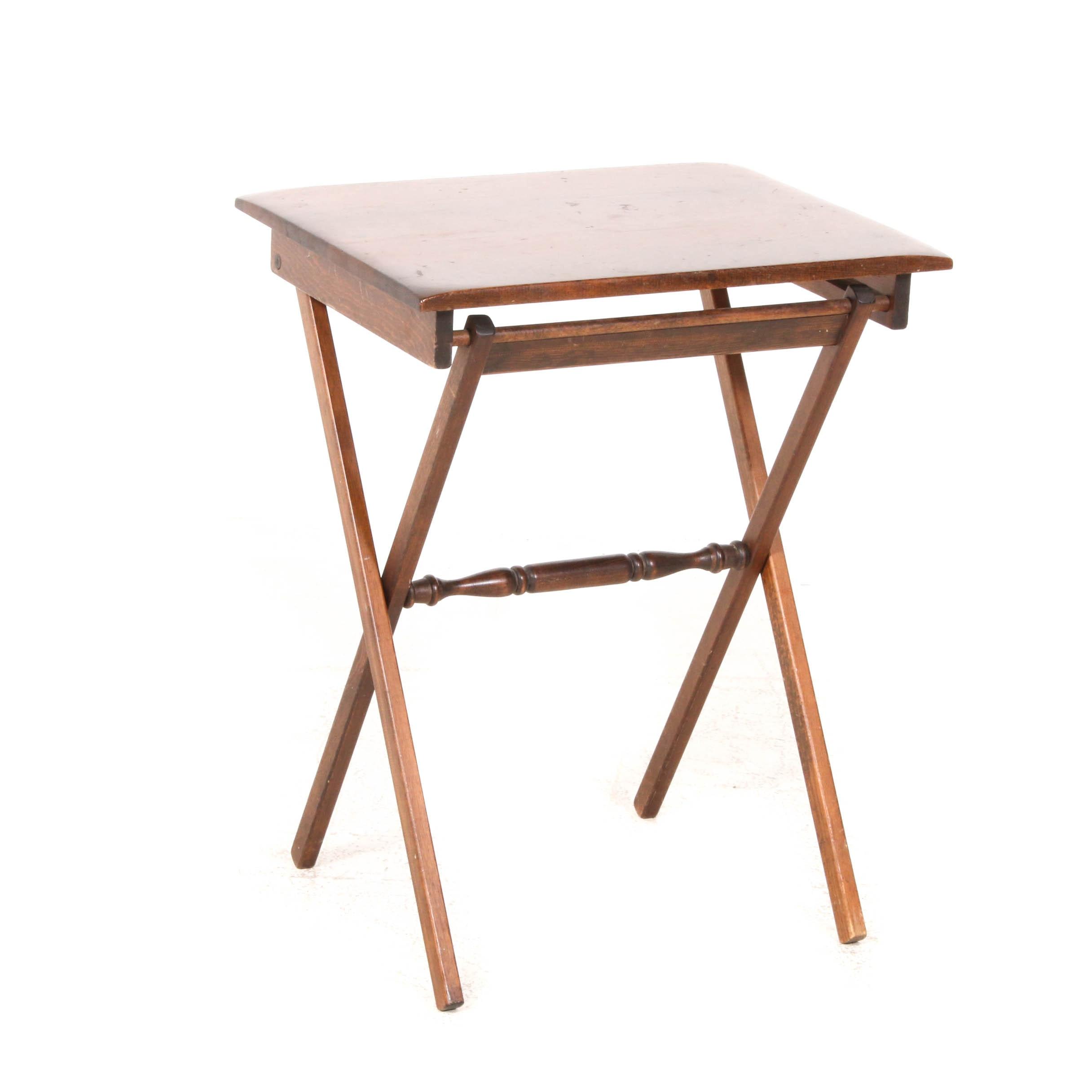 Wood Tilt-Top Table, Mid 20th Century