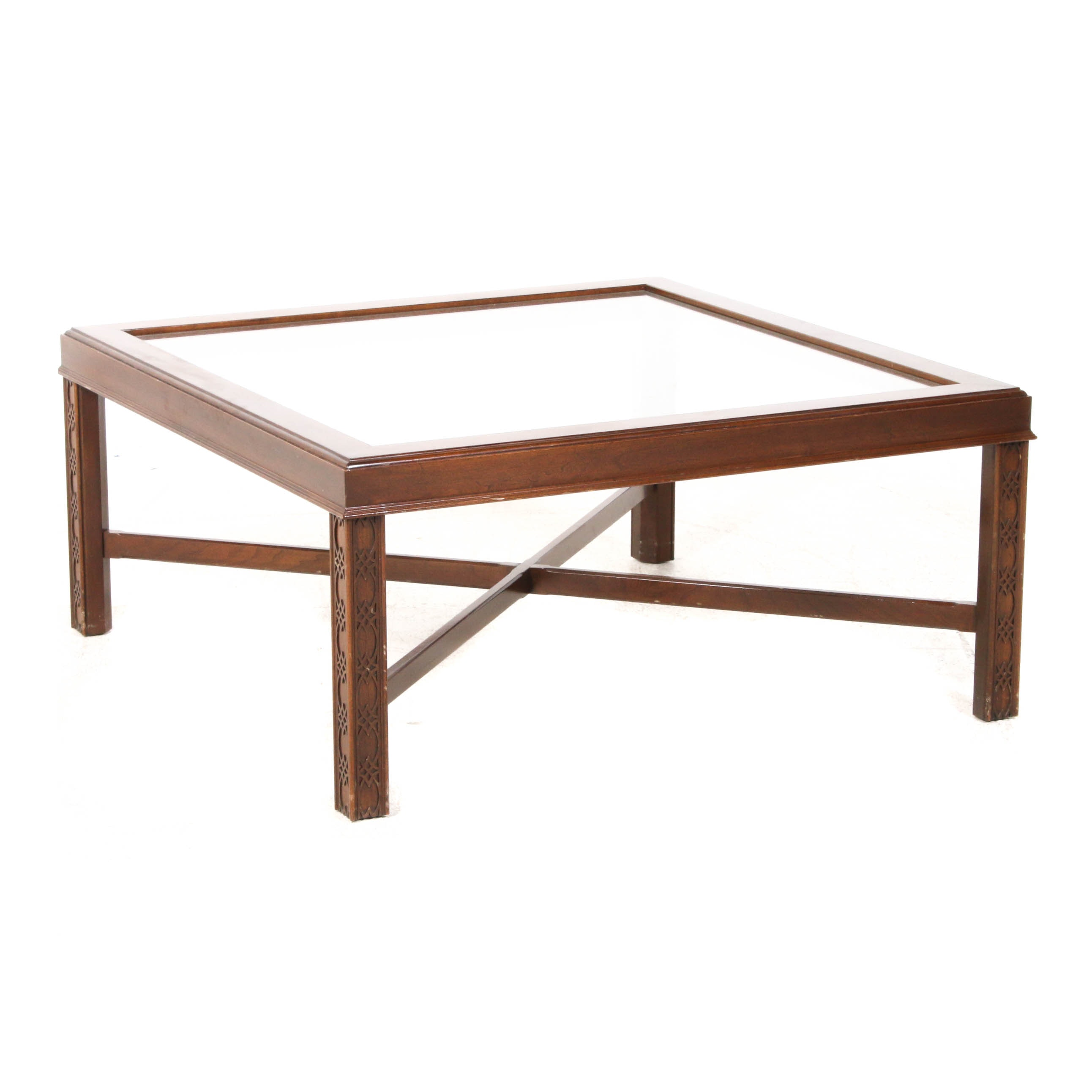 Chippendale Wood and Glass Coffee Table, Mid 20th Century