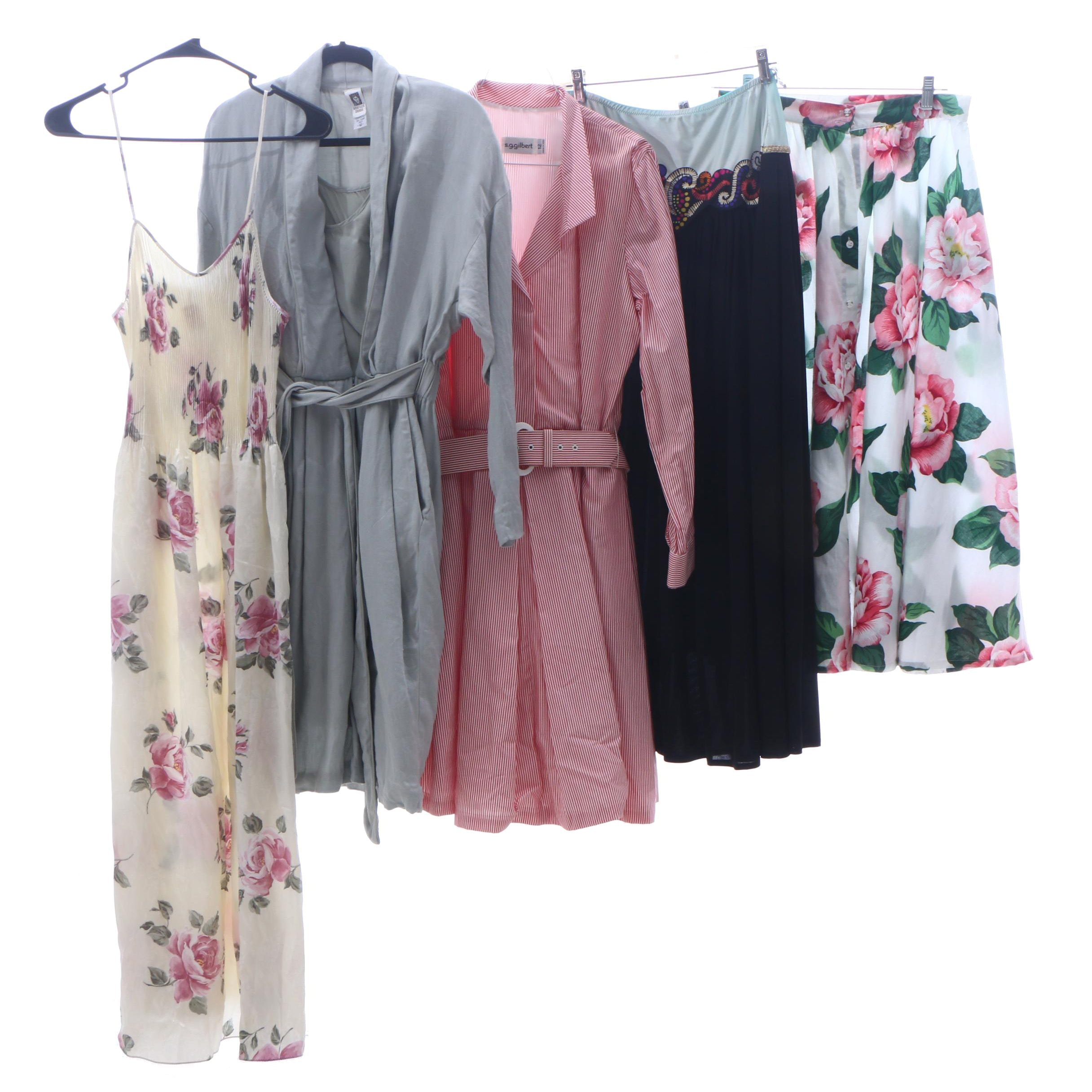 Mary McFadden Floral Print Nightgown and Other Clothing Separates