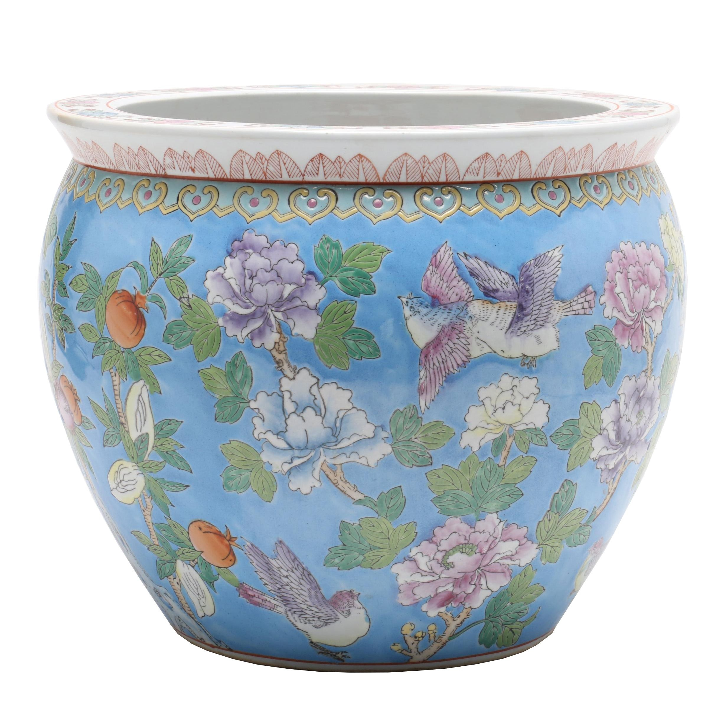 Chinese Ceramic Fishbowl Planter, late 20th Century