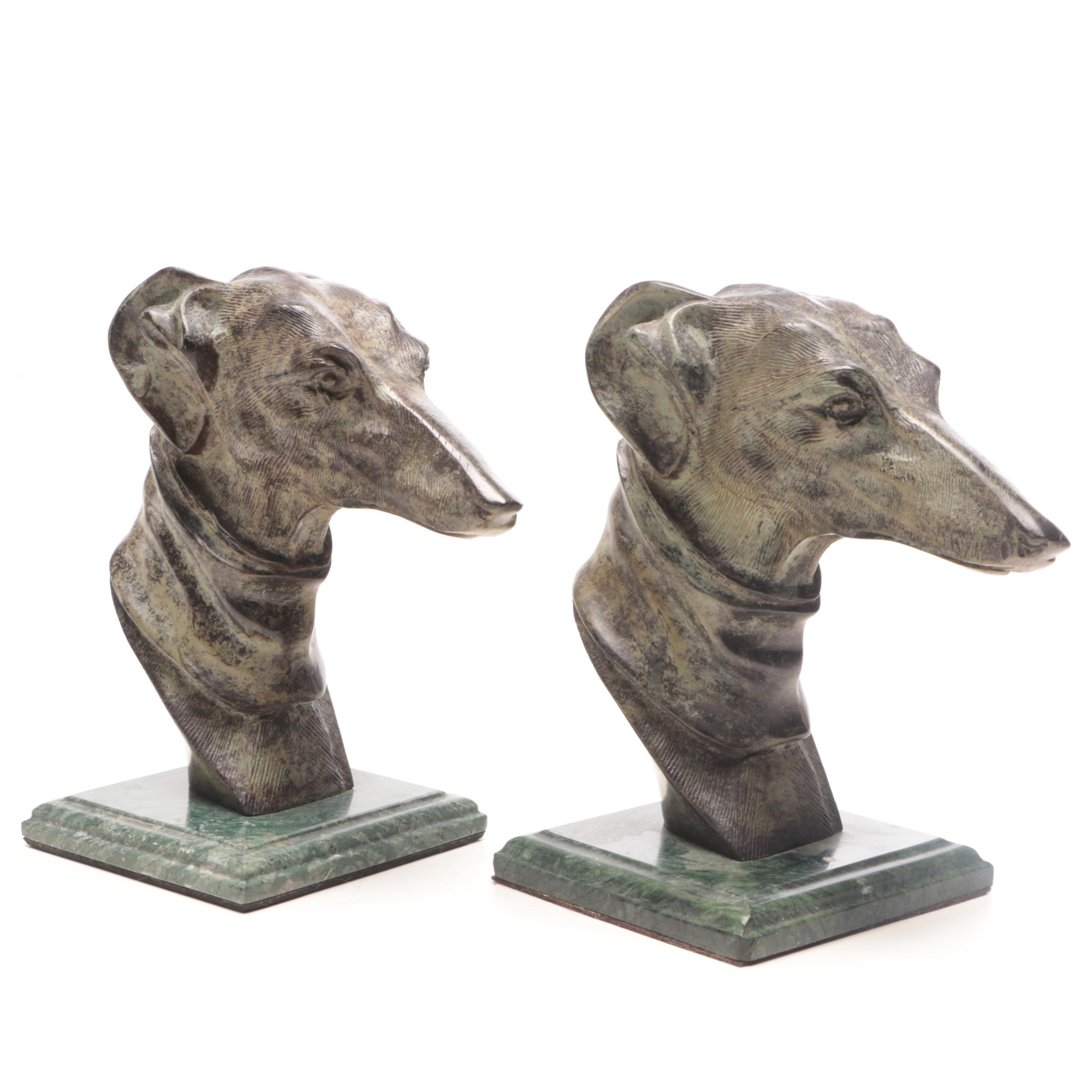 Carved Bronze Greyhound Bookends on Marble Base
