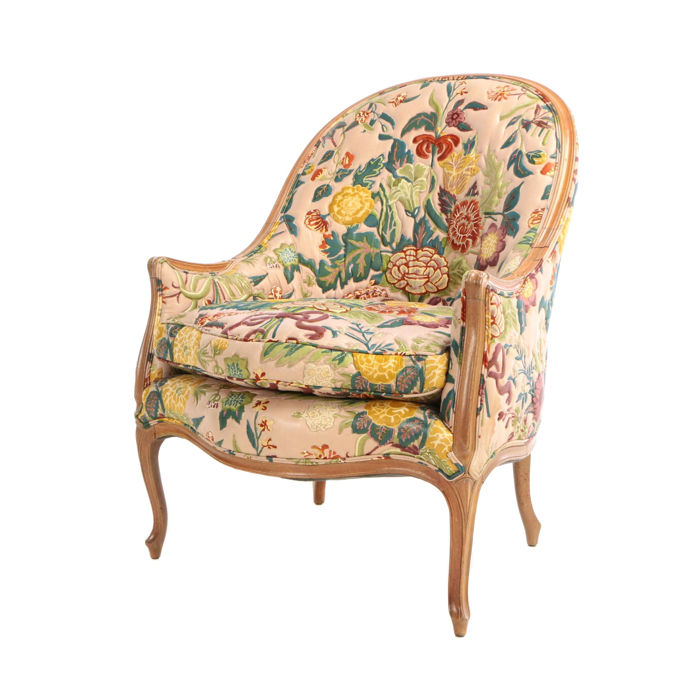 Louis XV Style Carved Blondewood and Floral-Upholstered Bergère, 20th Century