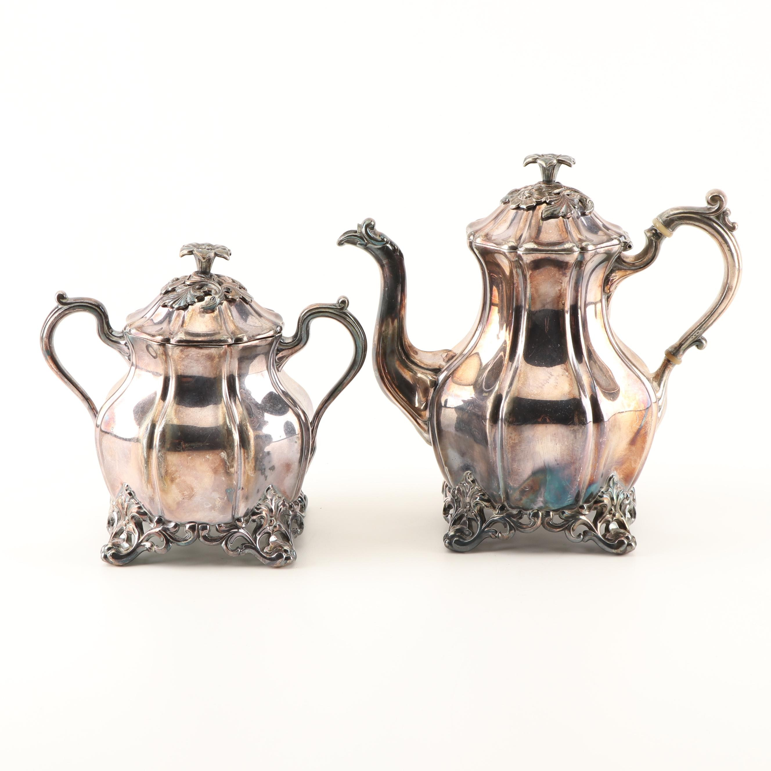 Silver Plated Teapot and Sugar Bowl