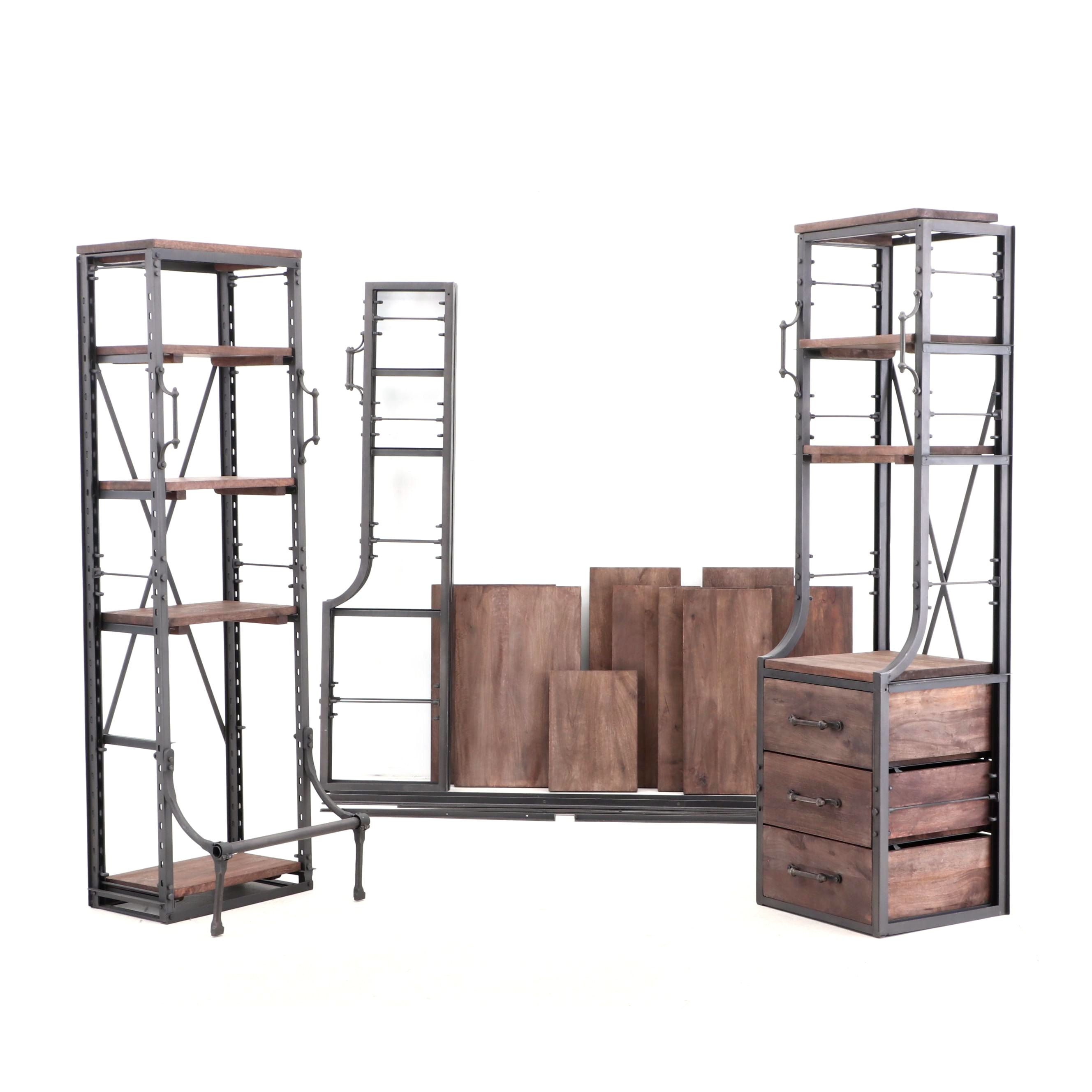 Restoration Hardware Teen Industrial Style Metal Shelves, Contemporary