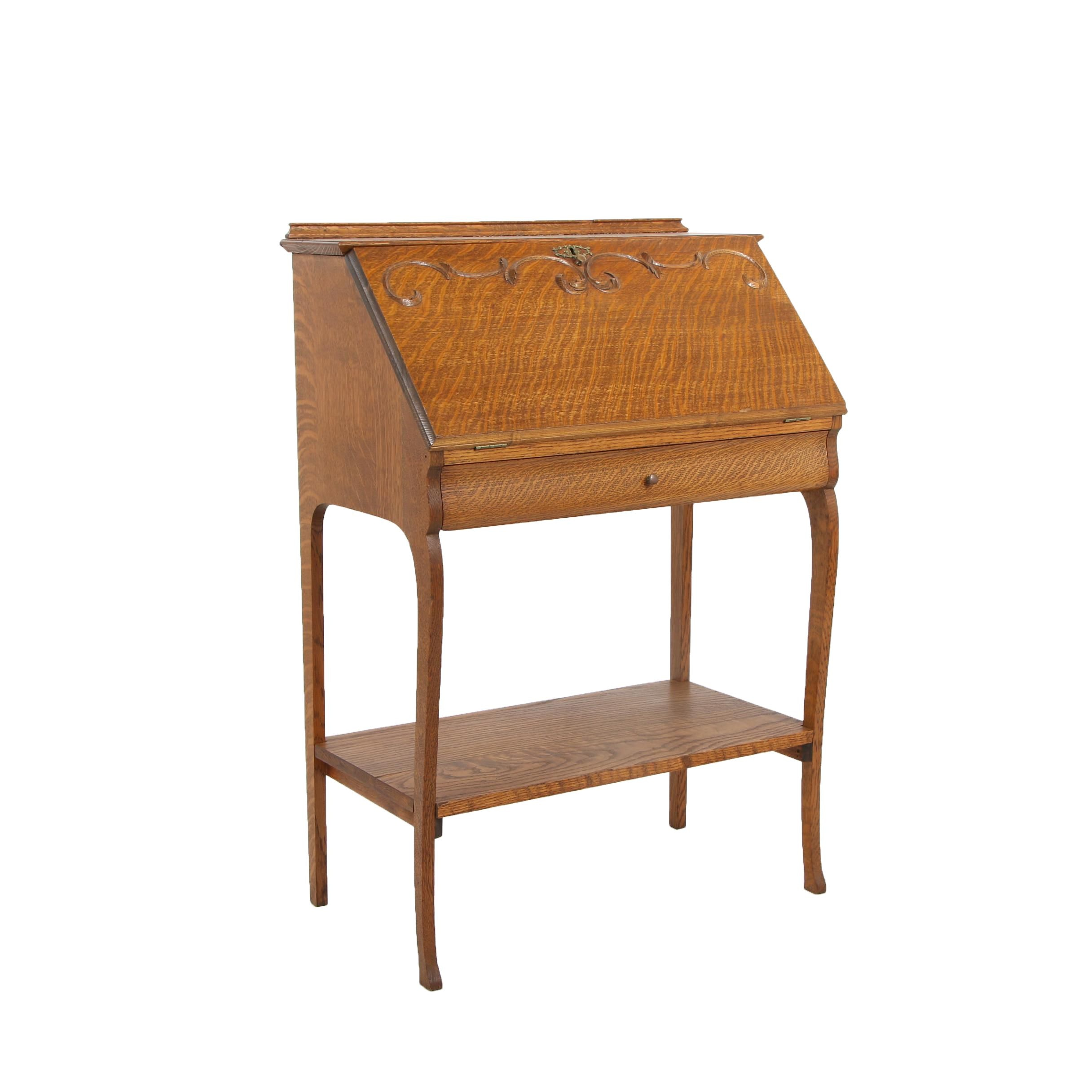 Late Victorian Oak Fall Front Secretary, Circa 1910