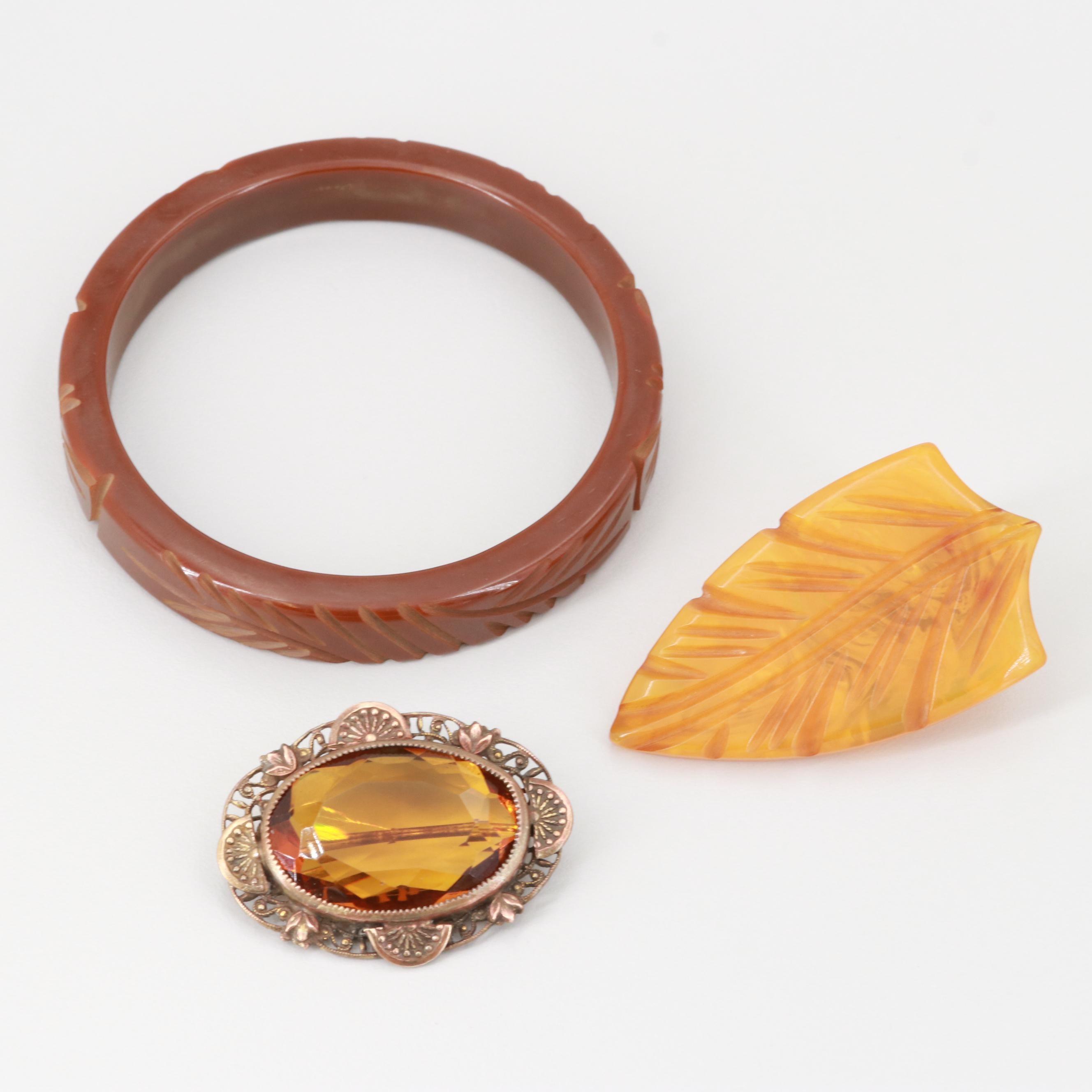 1930s Bakelite and Glass Jewelry Assortment