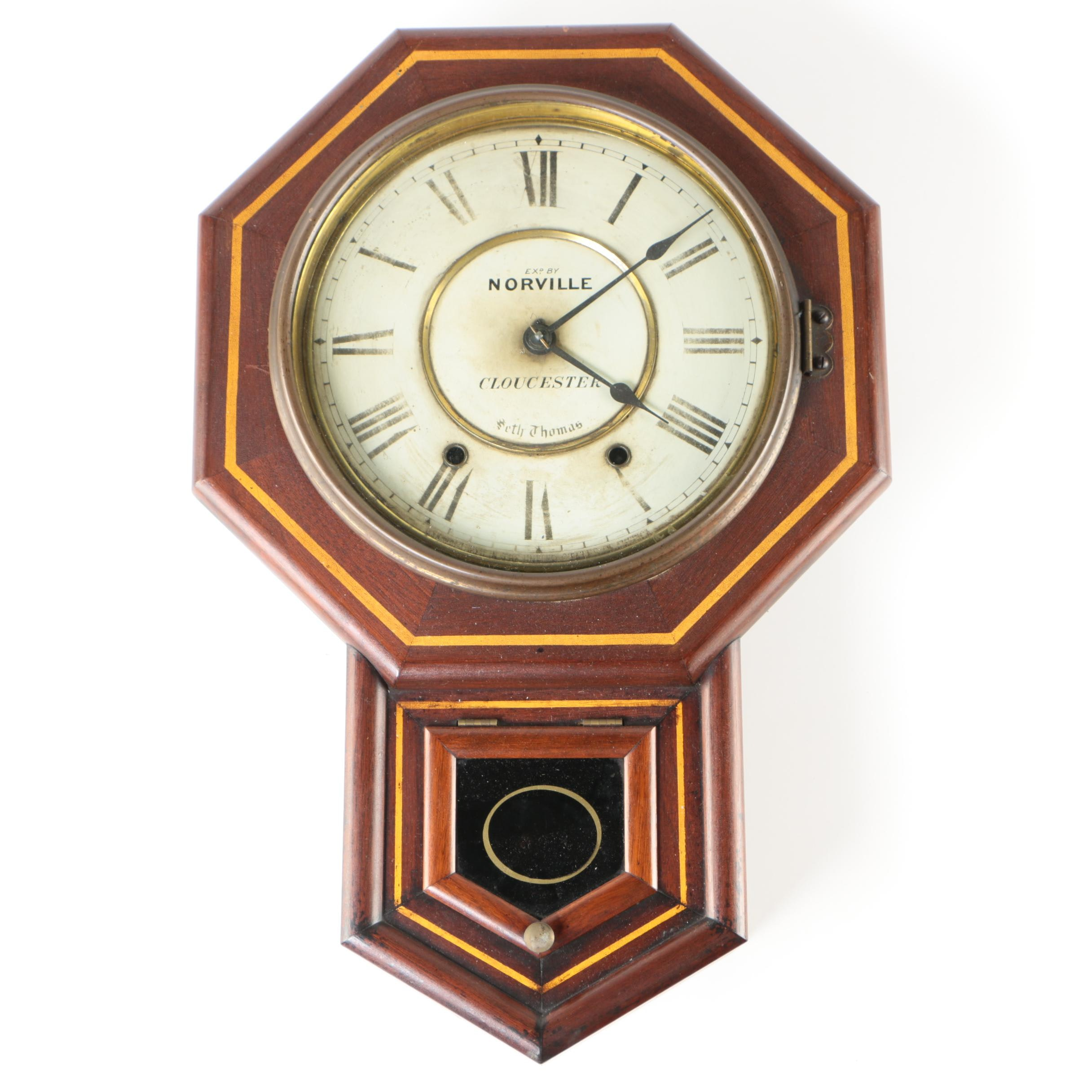 Seth Thomas Walnut Finish Drop Octagon Clock, Early 20th Century