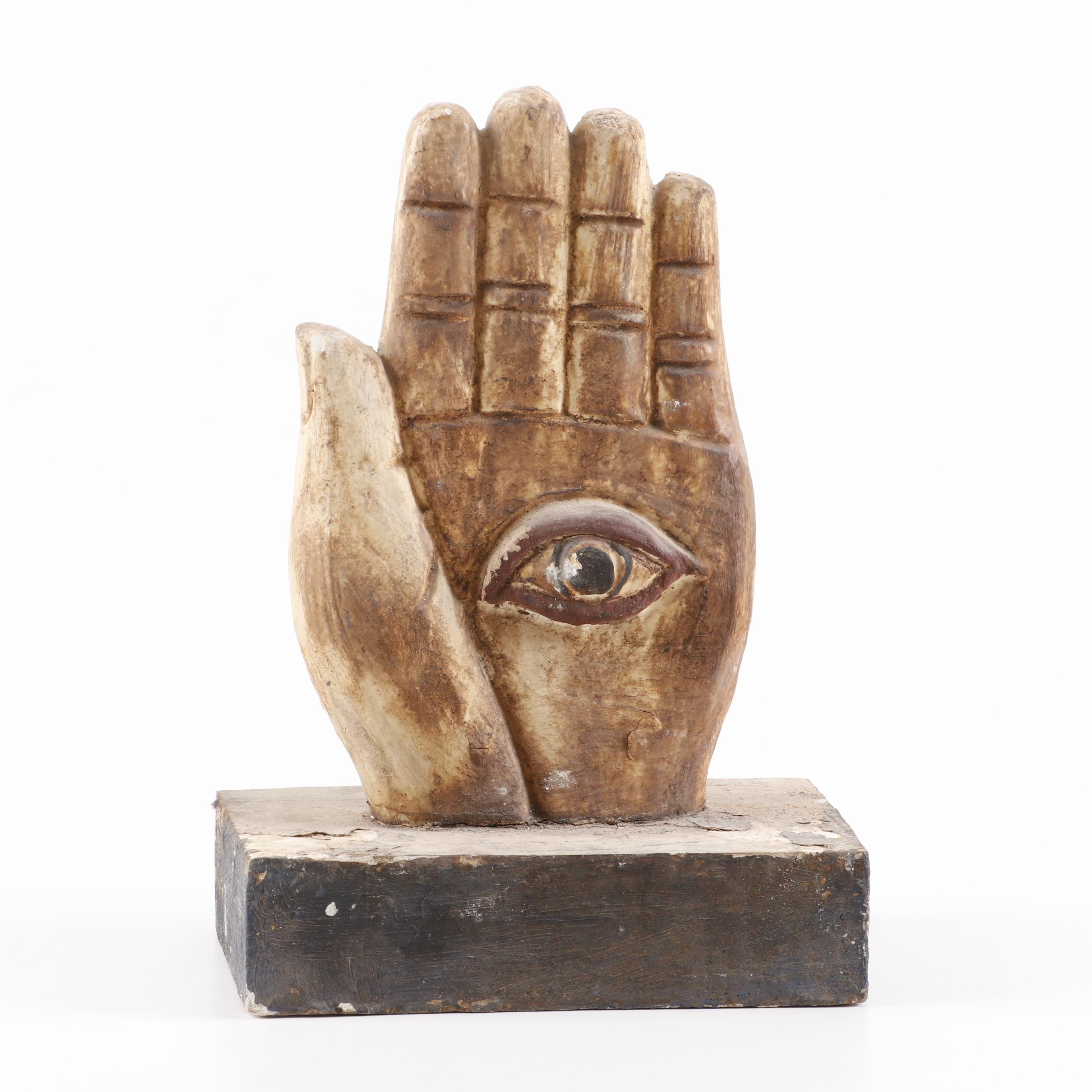 Polychrome Carved Wooden Hand of Fortune