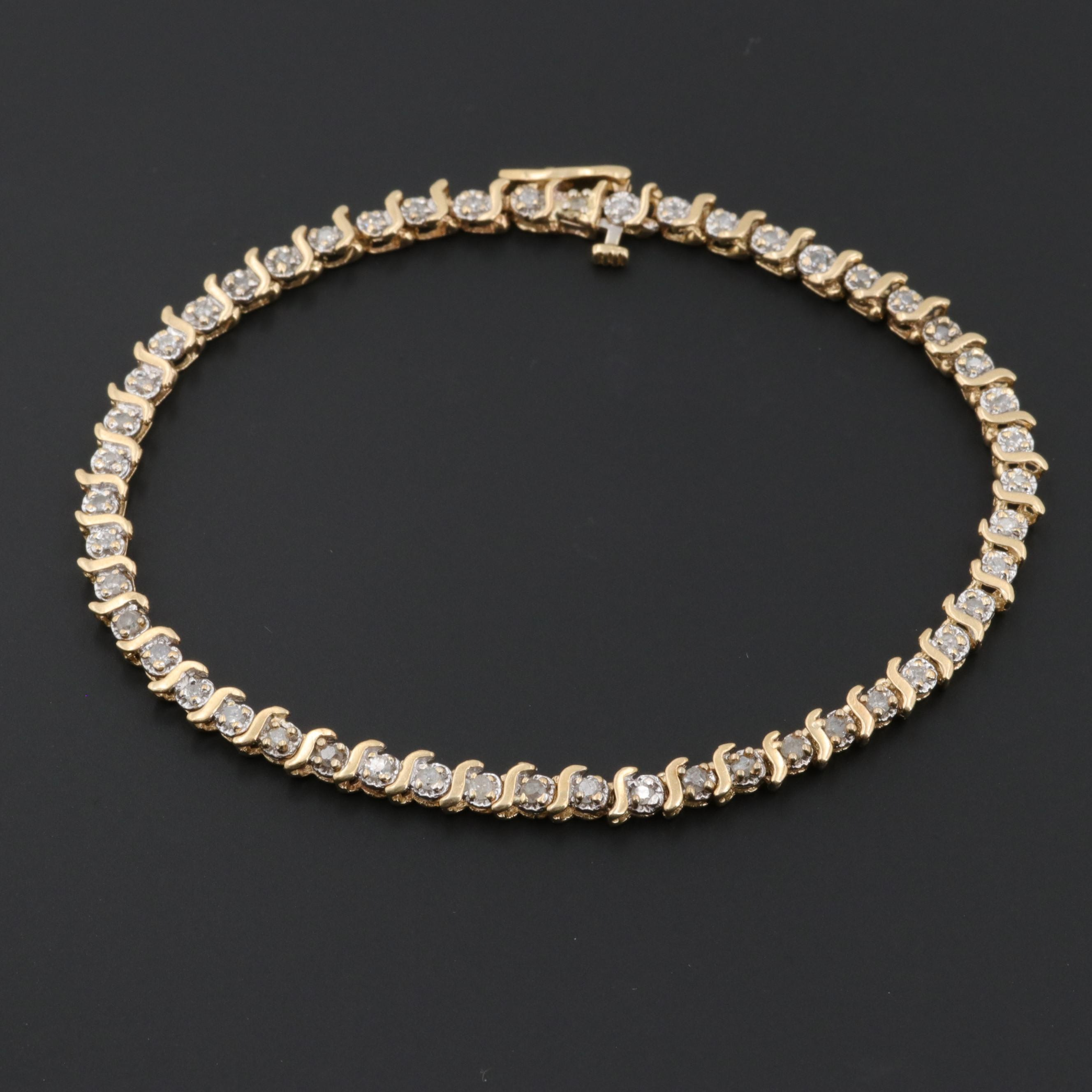 14K Yellow Gold 0.95 CTW Diamond Bracelet